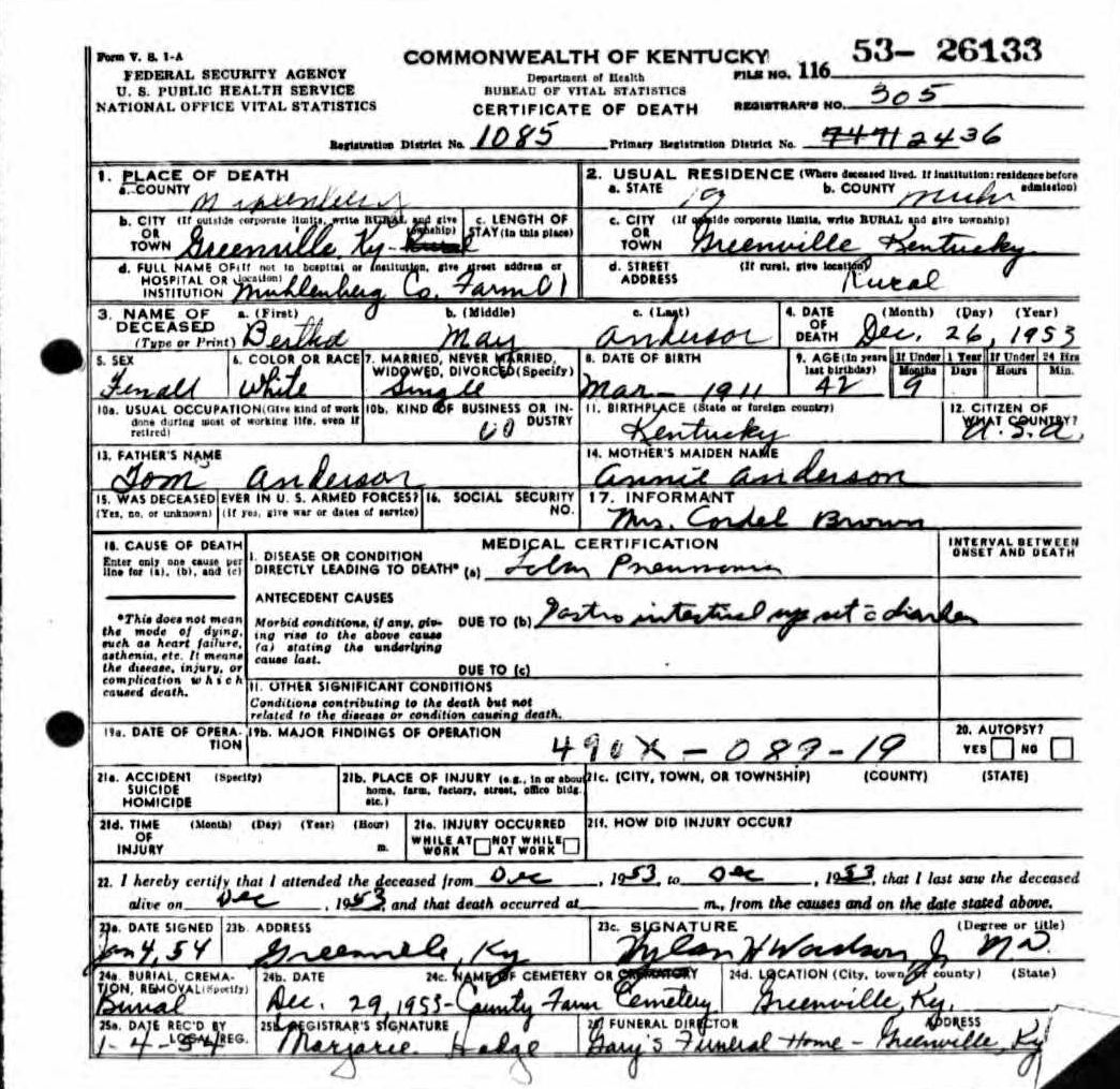 Death certificates a kentucky death certificate 26133 1betcityfo Images