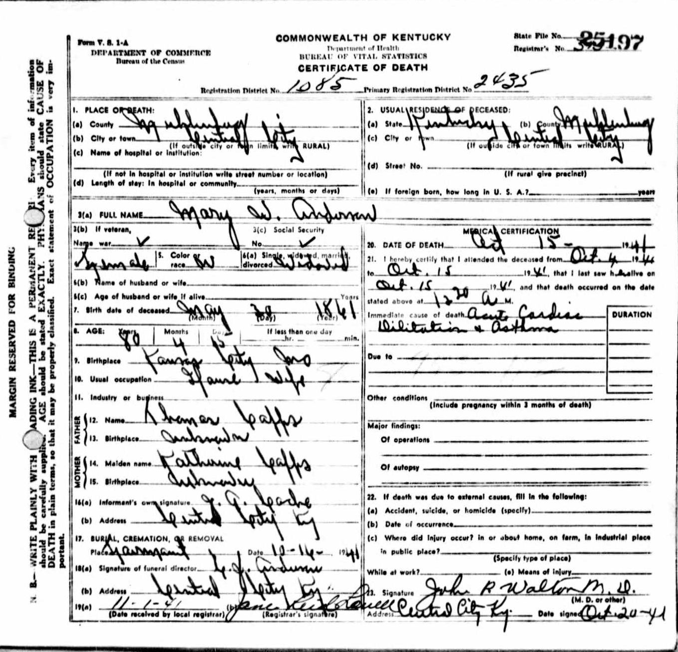 Death certificates a kentucky death certificate 25197 mary w anderson 1861 1941 thomas capps katherine capps ja coche central city kansas city muhlenberg xflitez Image collections