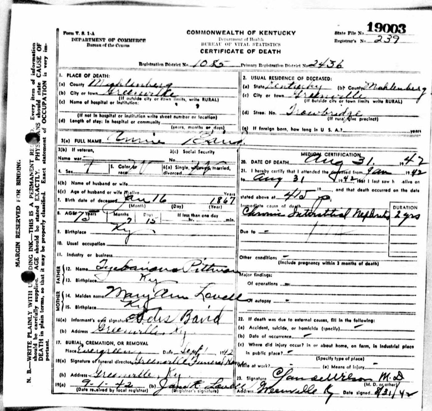 Death certificates ba kentucky death certificate 19003 xflitez Choice Image