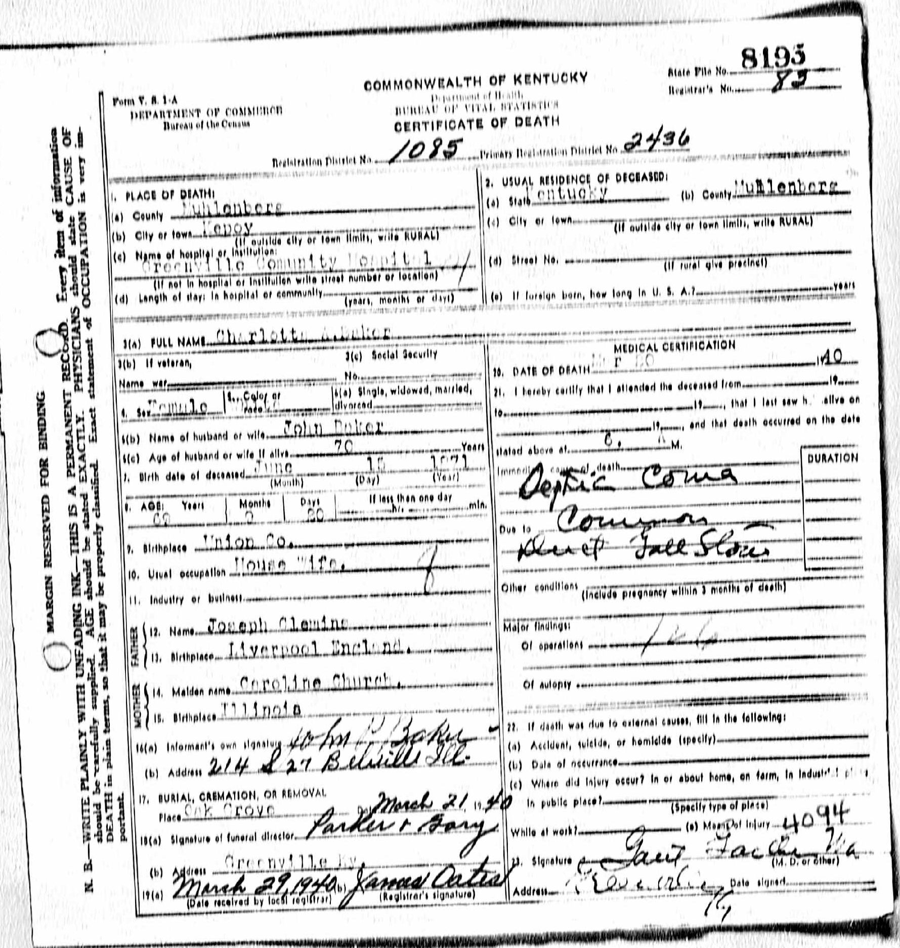 Death certificates ba kentucky death certificate 8193 xflitez Choice Image