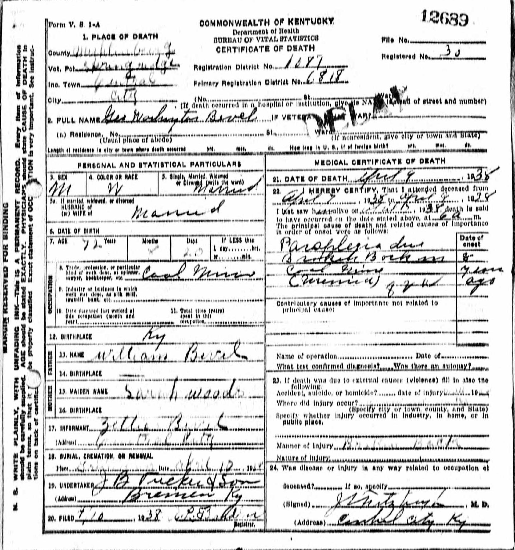 Death certificates be kentucky death certificate 12689 aiddatafo Images
