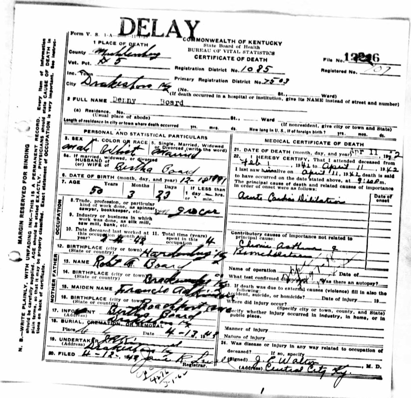 Death certificates b kentucky death certificate 12246 xflitez Images