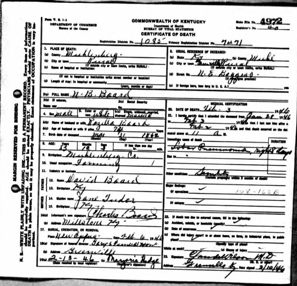 Death certificates b kentucky death certificate 4972 xflitez Images