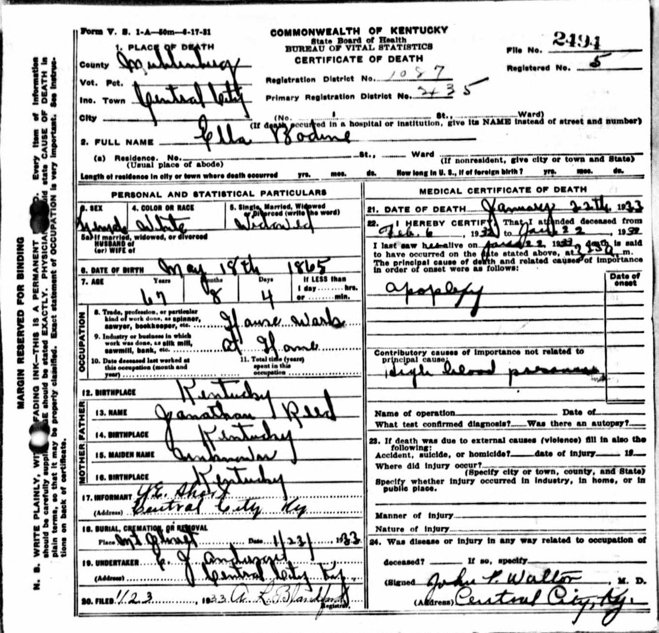 Death certificates b kentucky death certificate 2494 xflitez Images