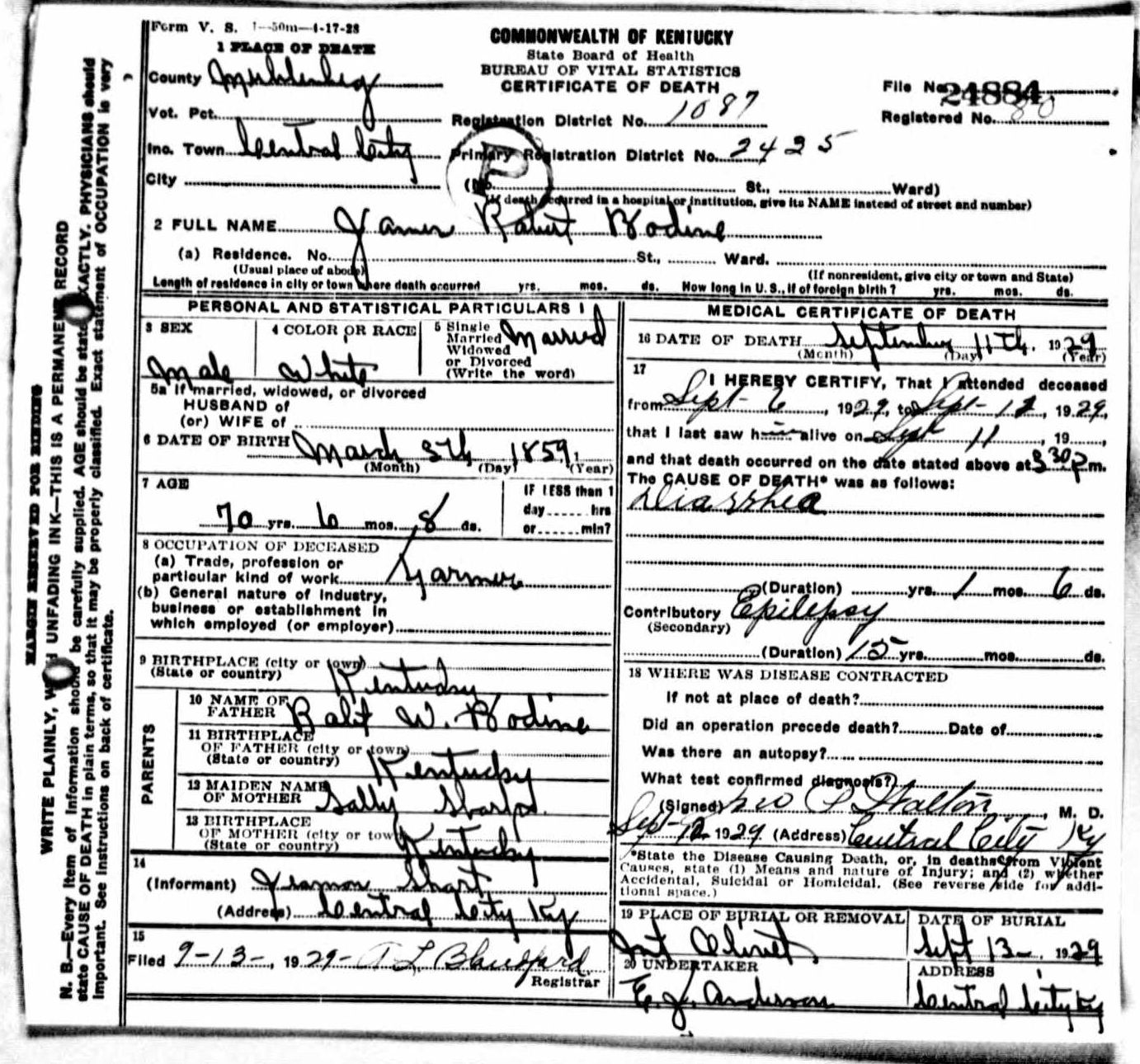 Death certificates b kentucky death certificate 24884 xflitez Images