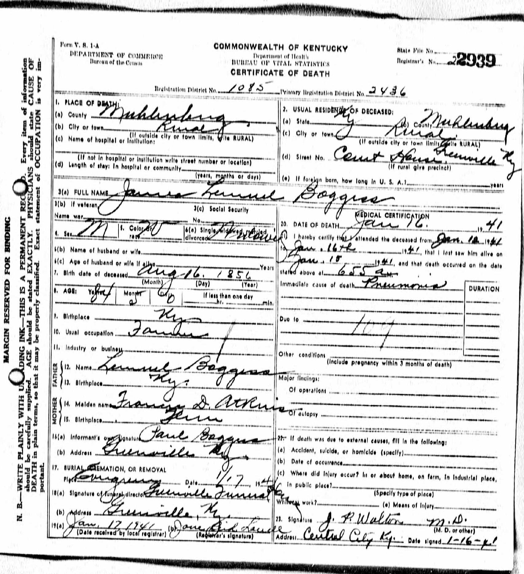 Death certificates b kentucky death certificate 2939 xflitez Images