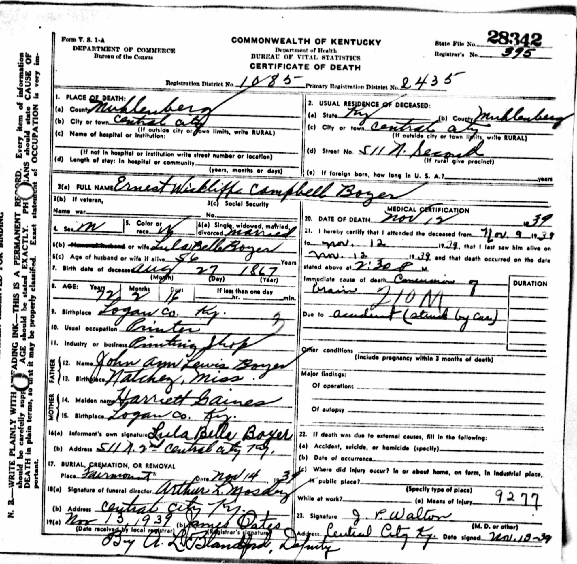 Death certificates b kentucky death certificate 28342 xflitez Images