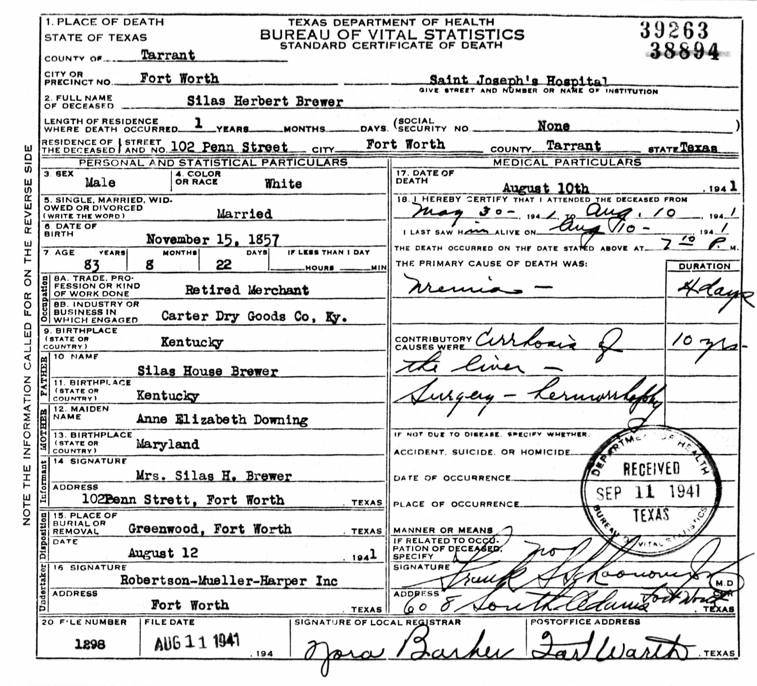 Death certificates br texas death certificate 39263 1betcityfo Images