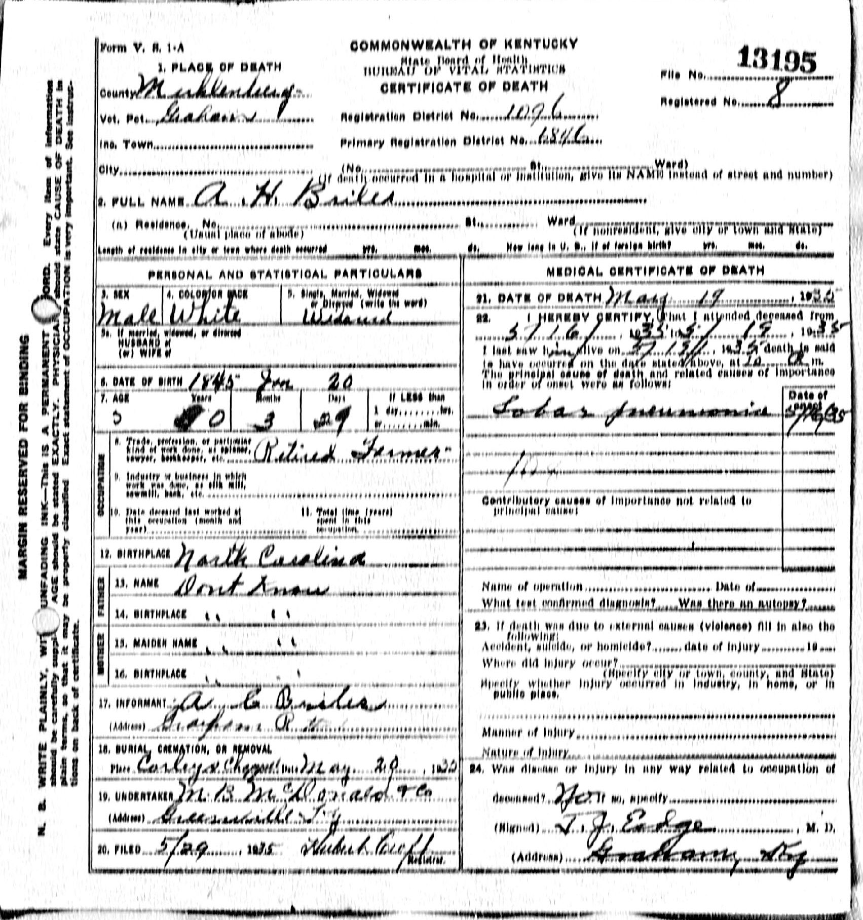 Death certificates br kentucky death certificate 13195 ah briles 1845 1935 ac briles graham muhlenberg kentucky north carolina corleys chapel xflitez Choice Image