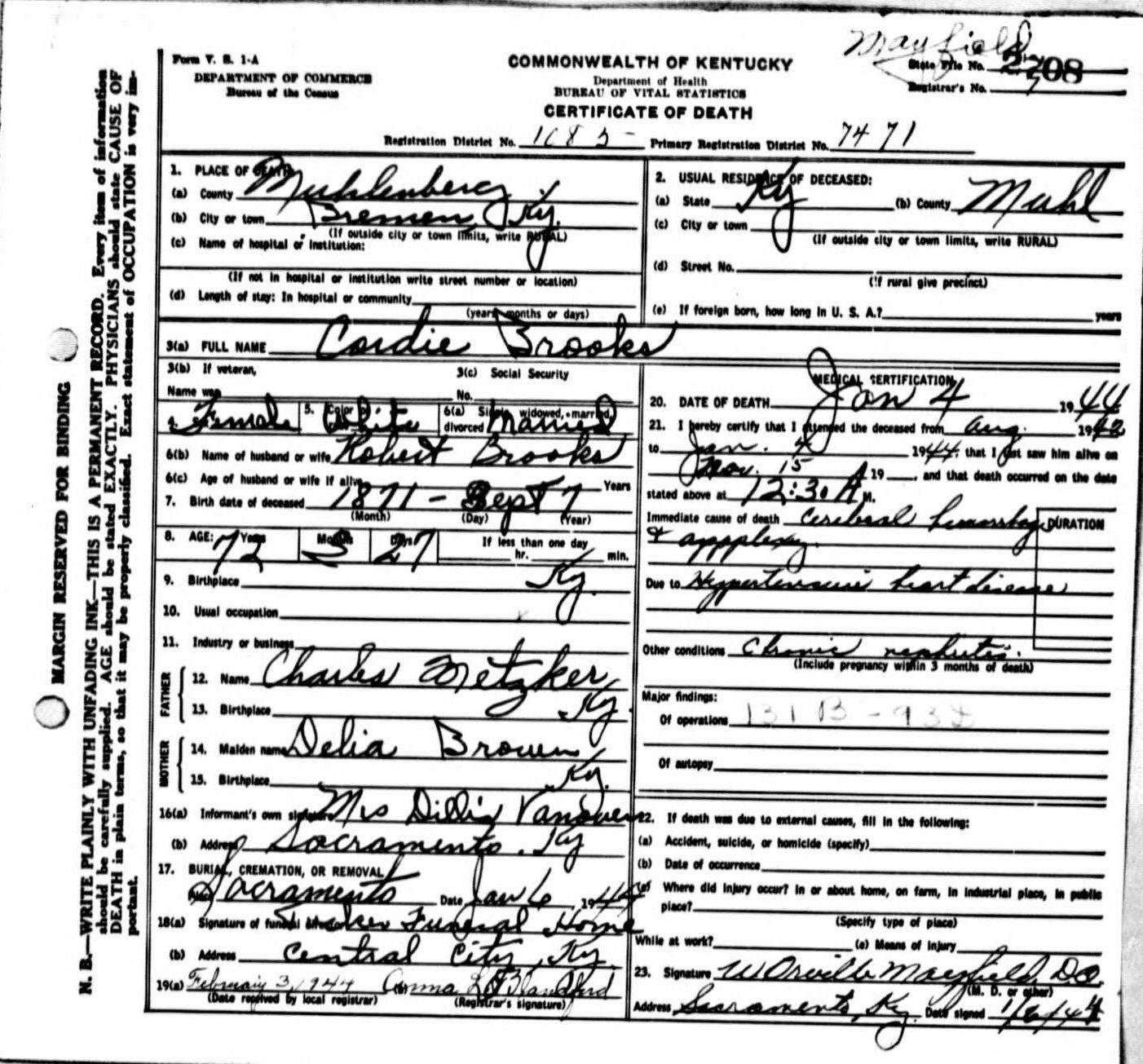 Death certificates br kentucky death certificate 2708 cordie brooks 1871 1944 robert brooks charles metzker delia brown dillia vanover bremen sacramento muhlenberg 1betcityfo Choice Image