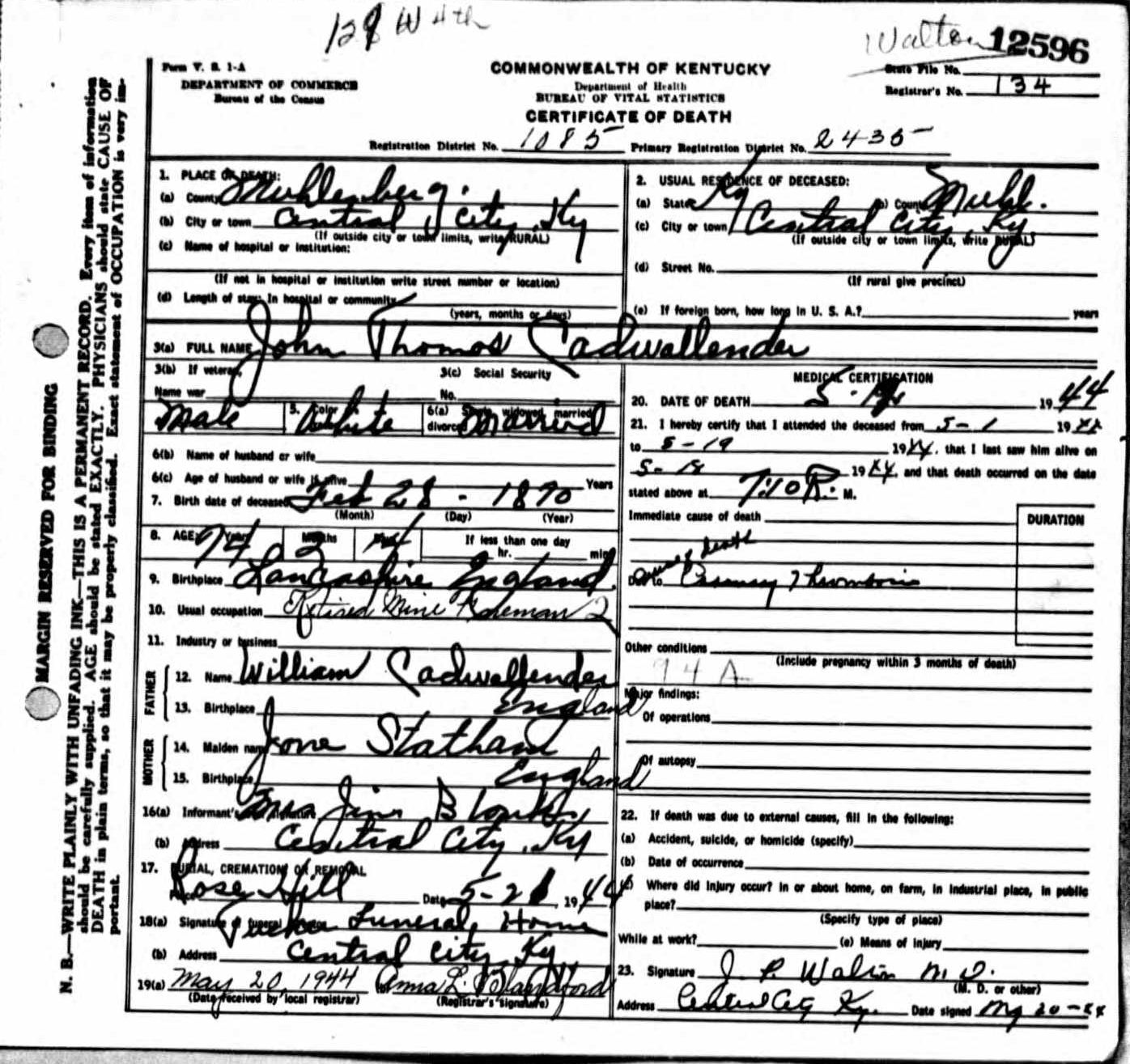 Death Certificates Ca