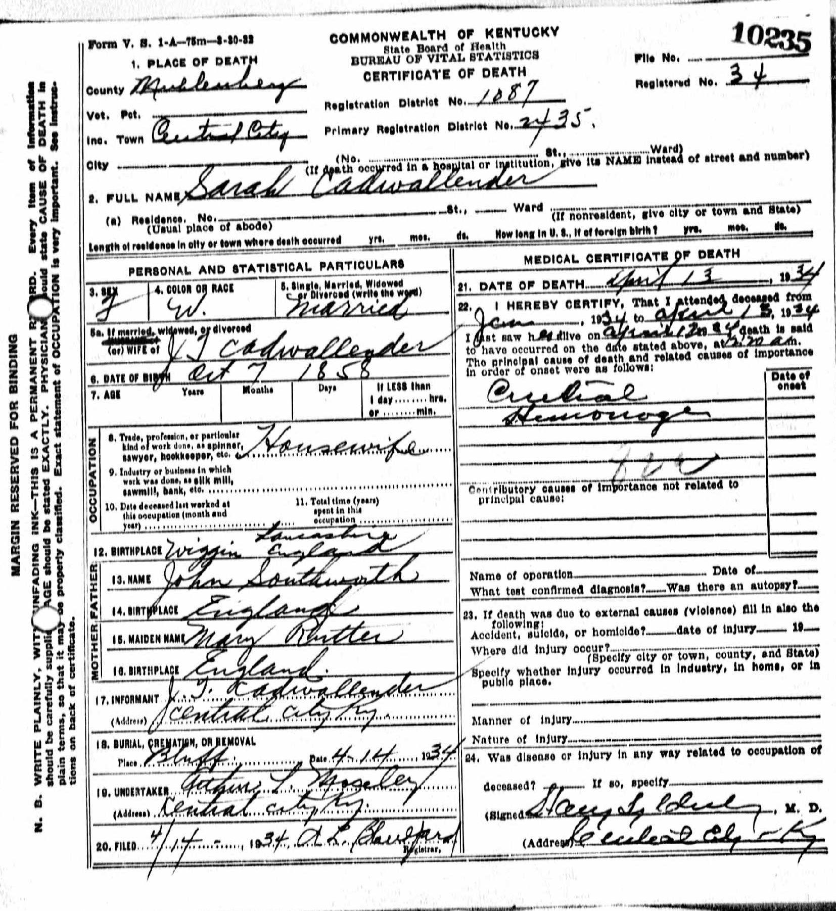 Death certificates ca kentucky death certificate 10235 xflitez Choice Image