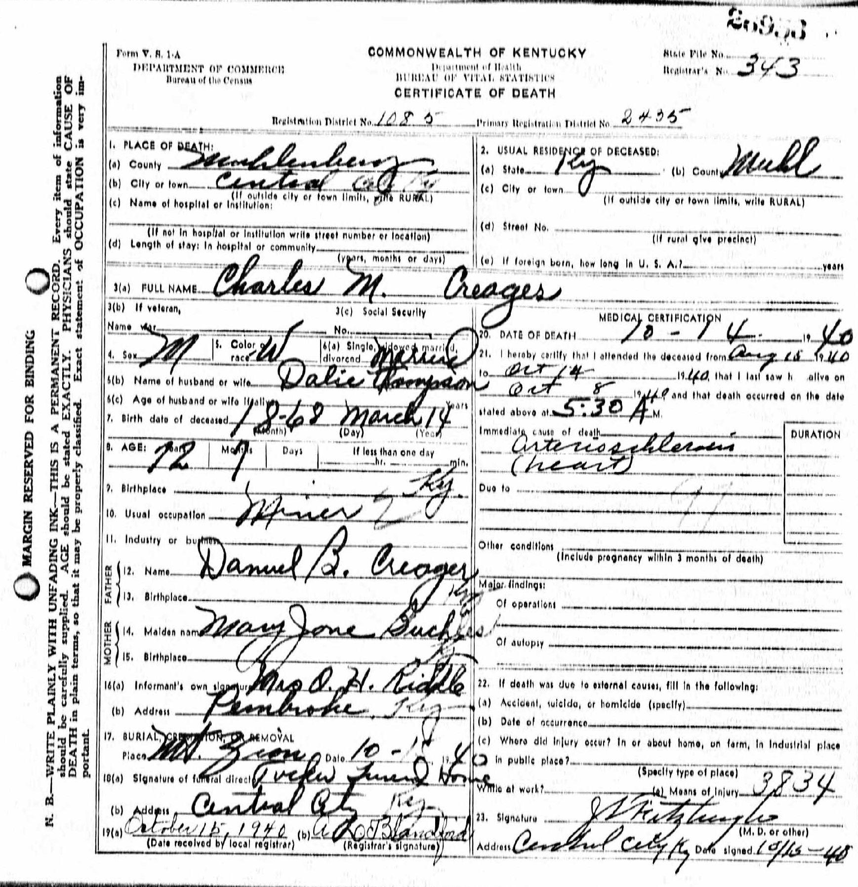 Death Certificates Cr