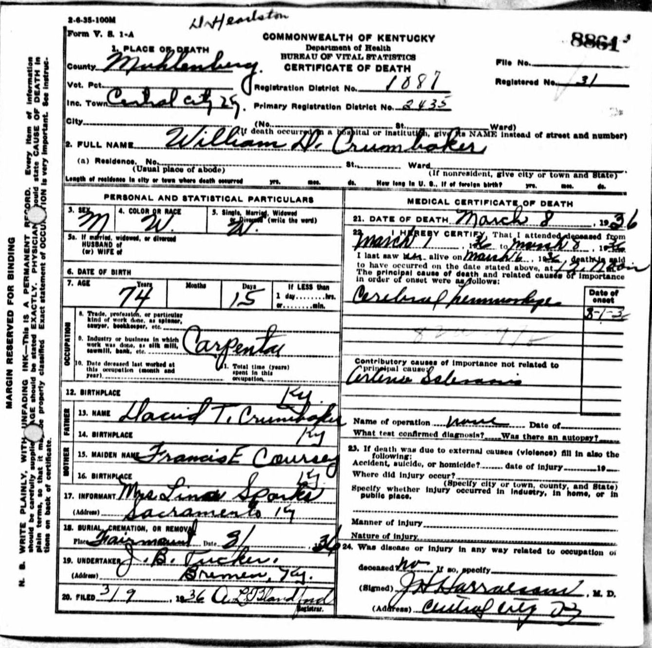 Death certificates cr kentucky death certificate 8861 william d crumbaker 1862 1936 david t crumbaker francis e coursey lina sparks central city sacramento 1betcityfo Choice Image