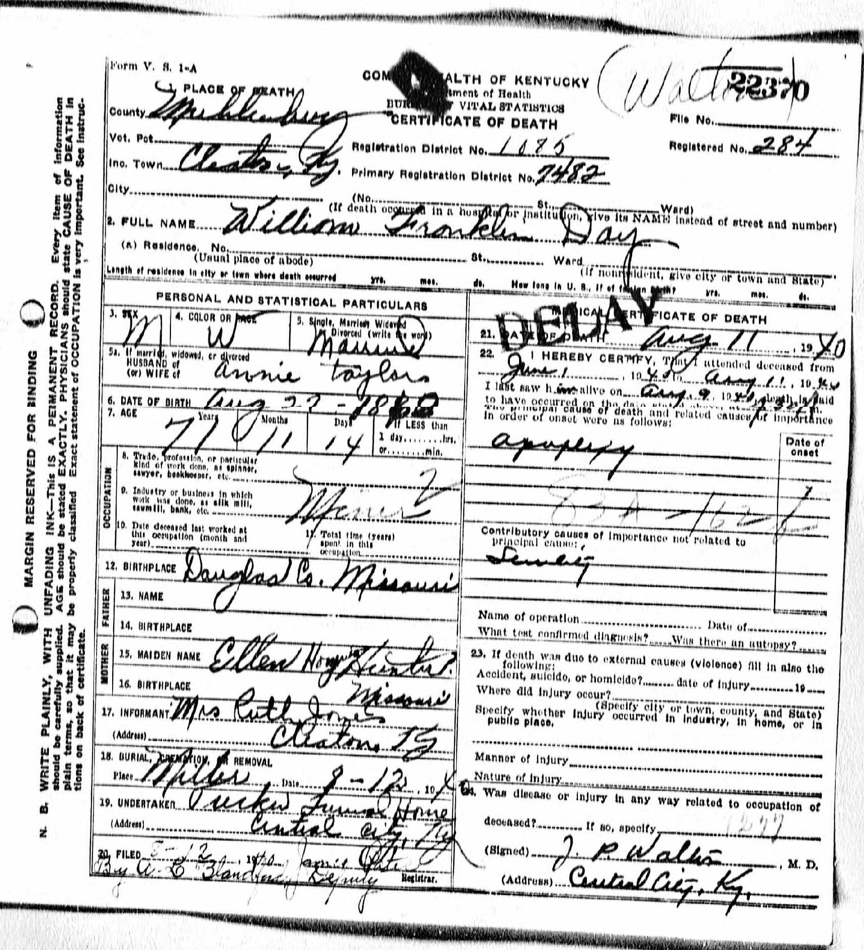 Death certificates da kentucky death certificate 22370 1betcityfo Image collections