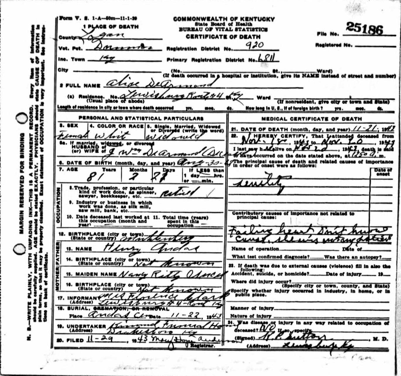 Death certificates de kentucky death certificate 25186 hexwebz Images