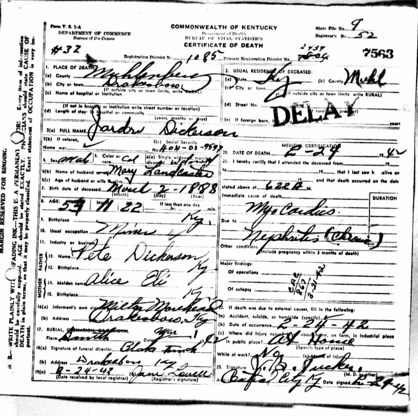 Death certificates di kentucky death certificate 7563 1betcityfo Images