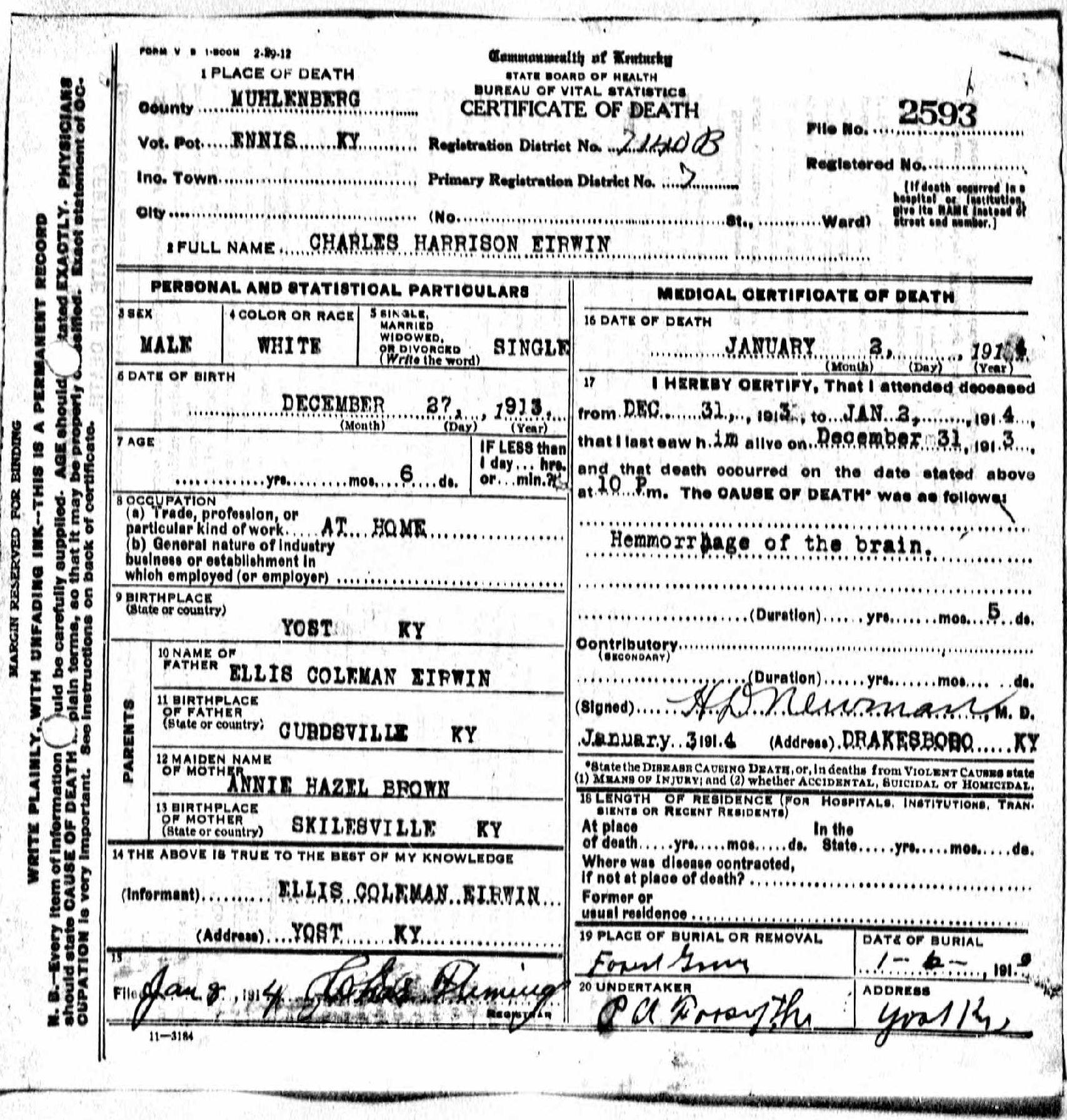 Death Certificates Eh Eu