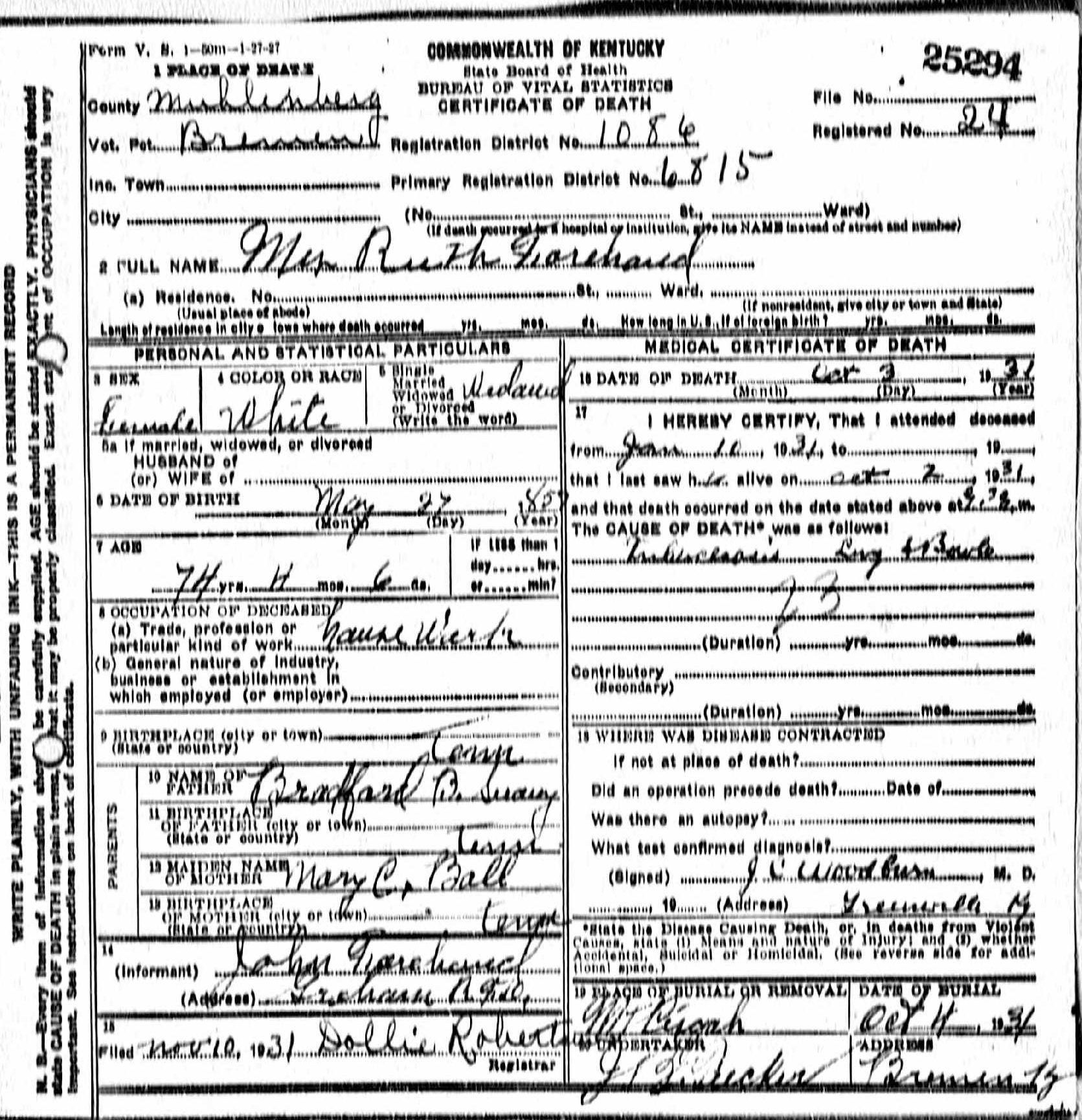 Death certificates f kentucky death certificate 25294 1betcityfo Images