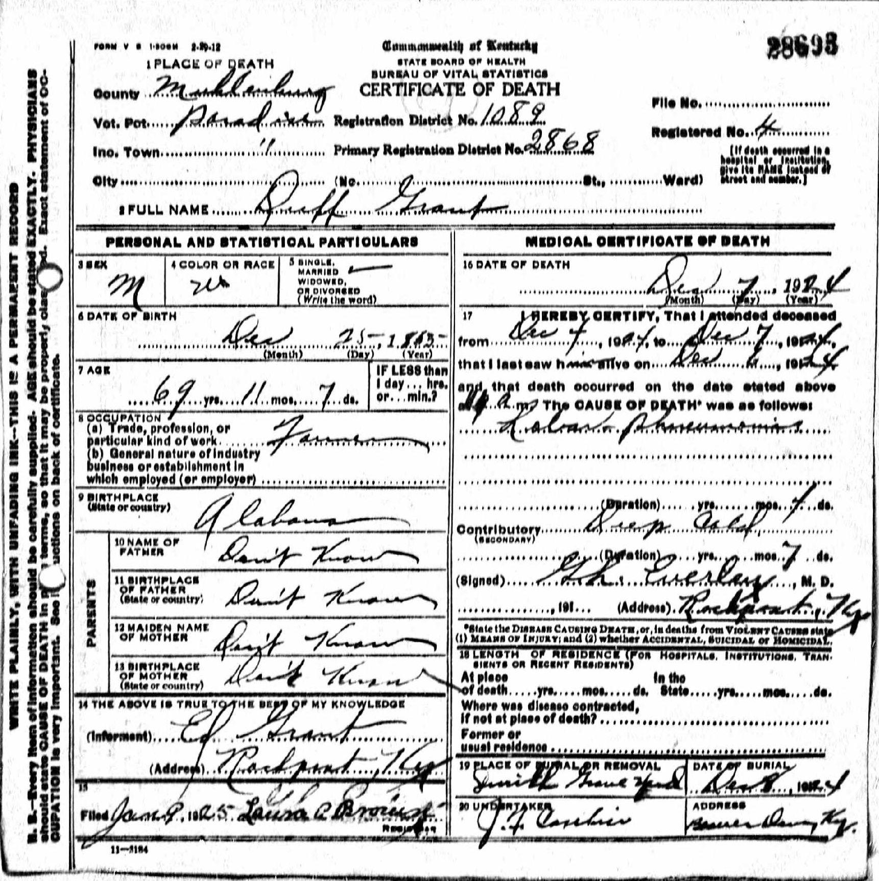 Death certificates gr kentucky death certificate 28693 duff grant 1865 1924 ed grant paradise rockport muhlenberg alabama kentucky smith xflitez Choice Image