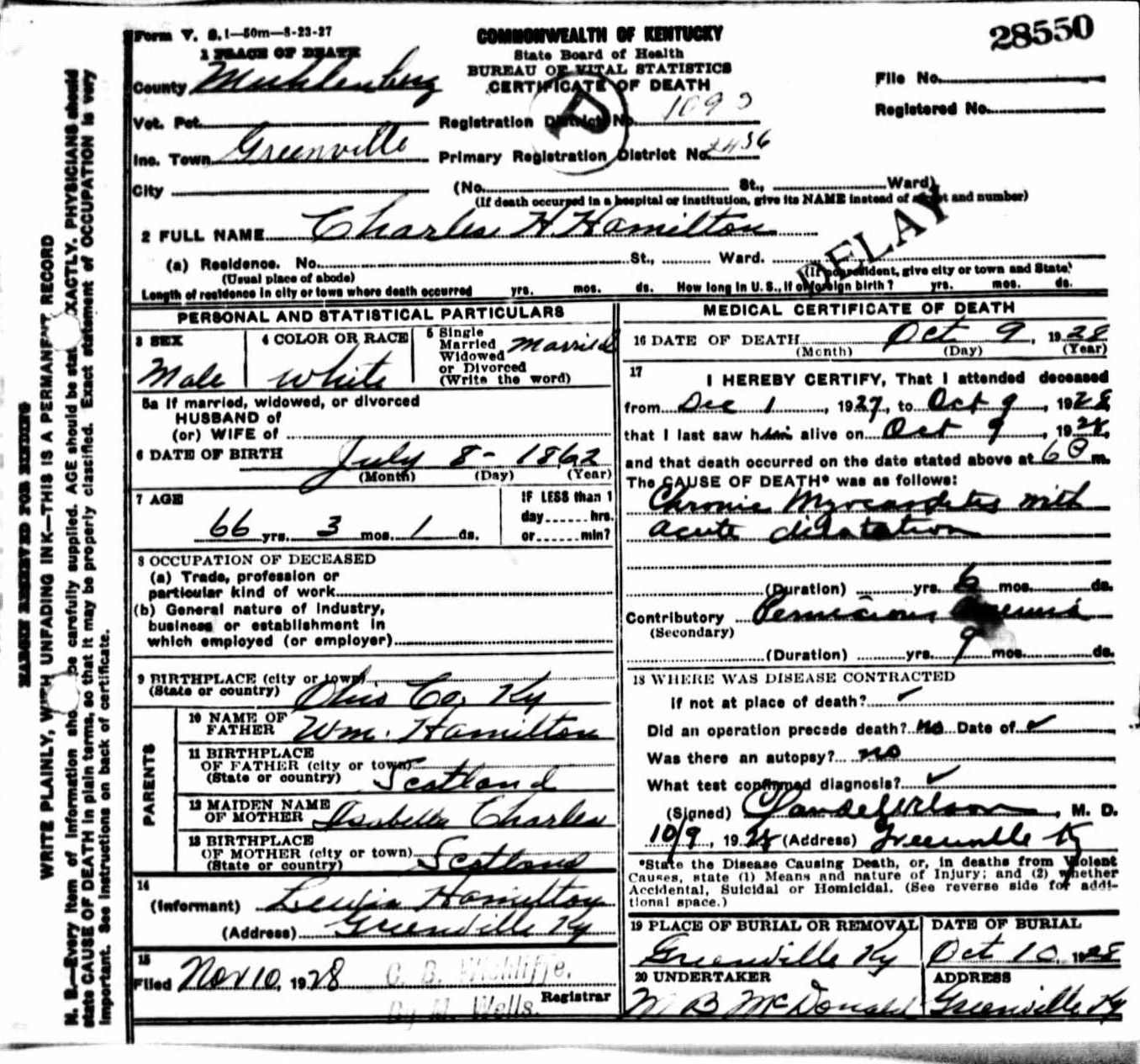 Death certificates h kentucky death certificate 28550 charles h hamilton aiddatafo Images