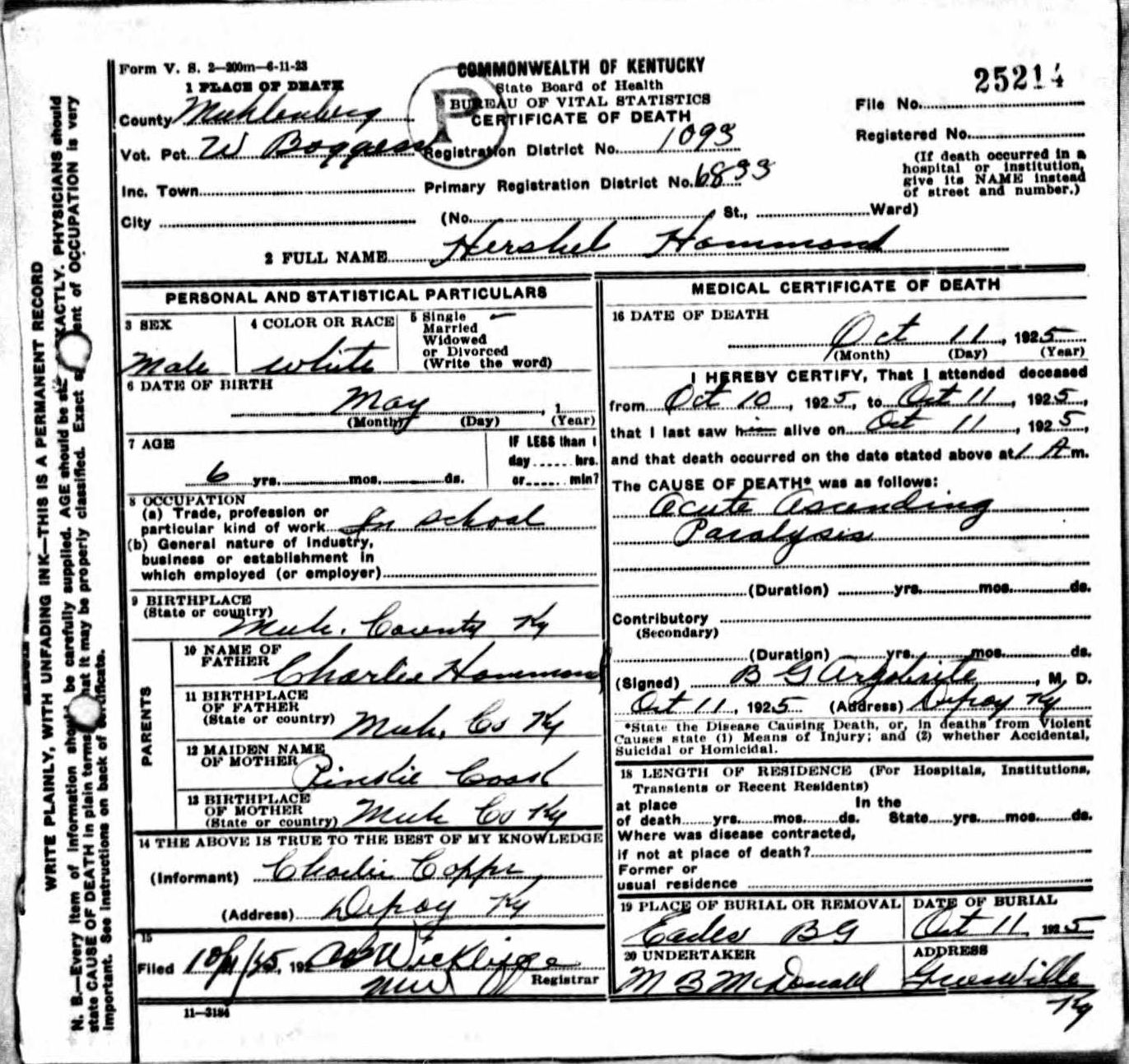 Death certificates h kentucky death certificate 25214 hershel hammond 1919 1925 charles hammond pinkie cook charlie copper boggess depoy muhlenberg kentucky eades 1betcityfo Image collections