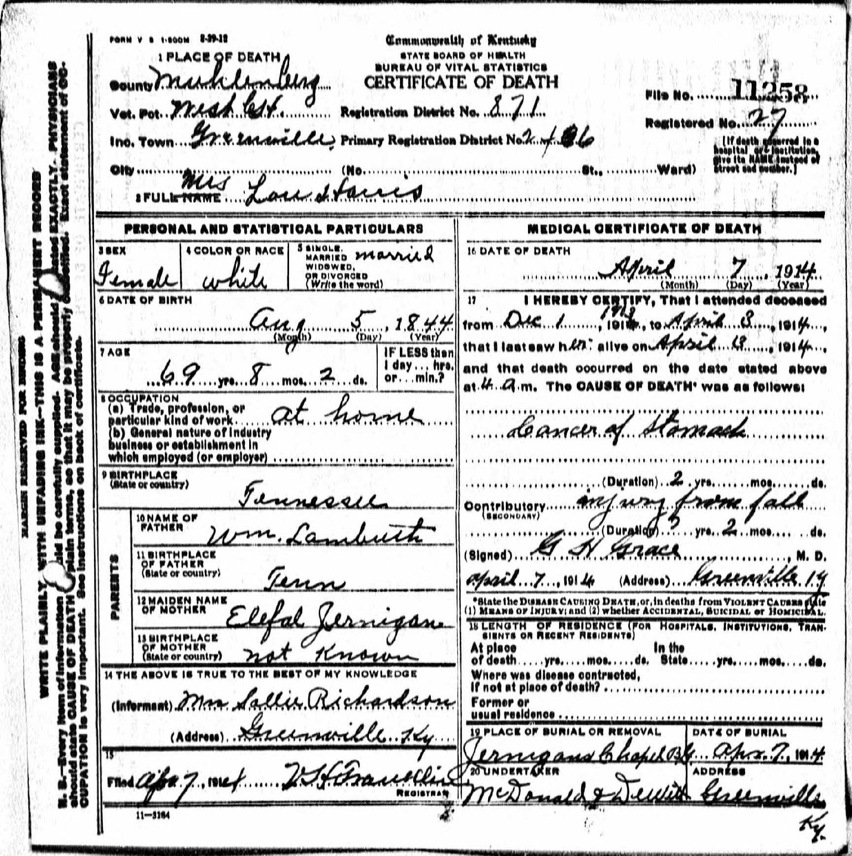 Death Certificates H