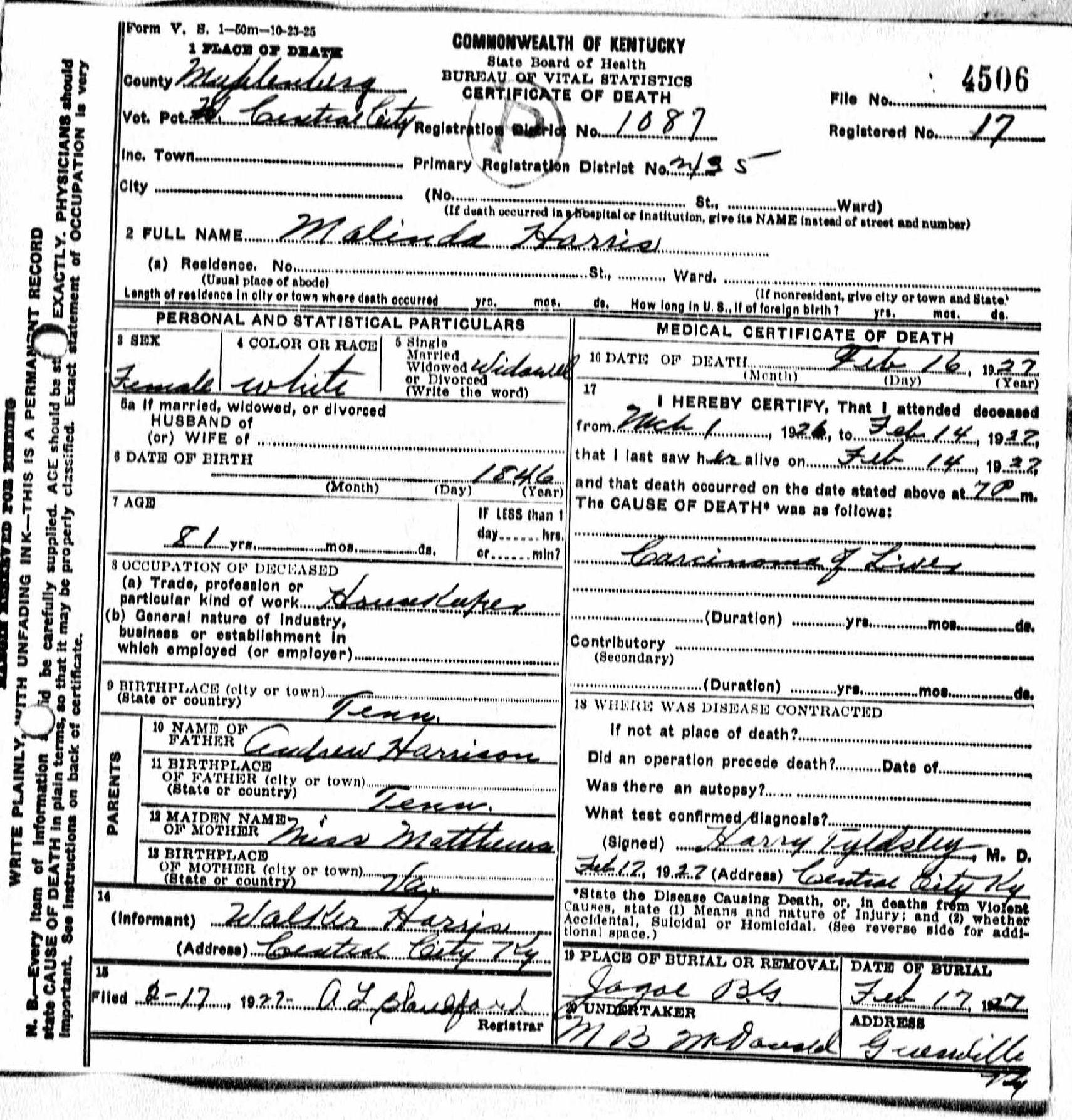 Death certificates h kentucky death certificate 4506 malinda harris 1846 1927 andrew harrison matthews walker harris central city muhlenberg kentucky tennessee 1betcityfo Images