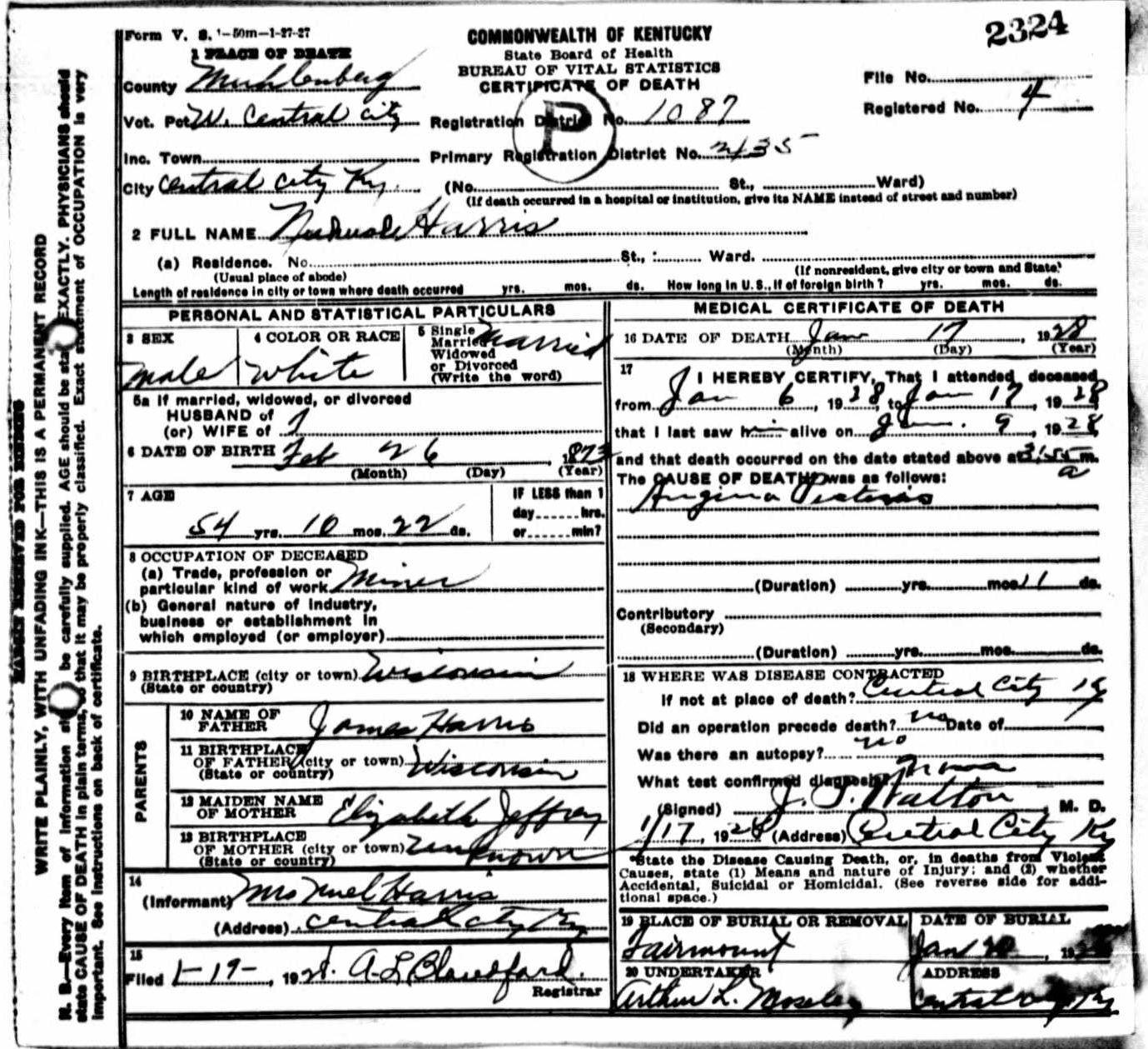 Death certificates h kentucky death certificate 2324 1betcityfo Gallery