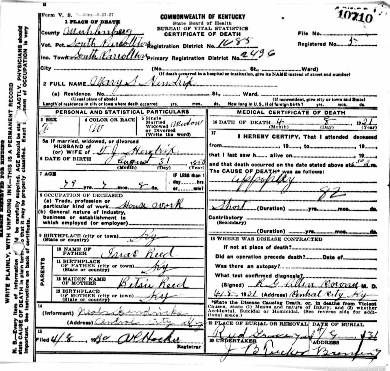 Death certificates h kentucky death certificate 10710 1betcityfo Choice Image
