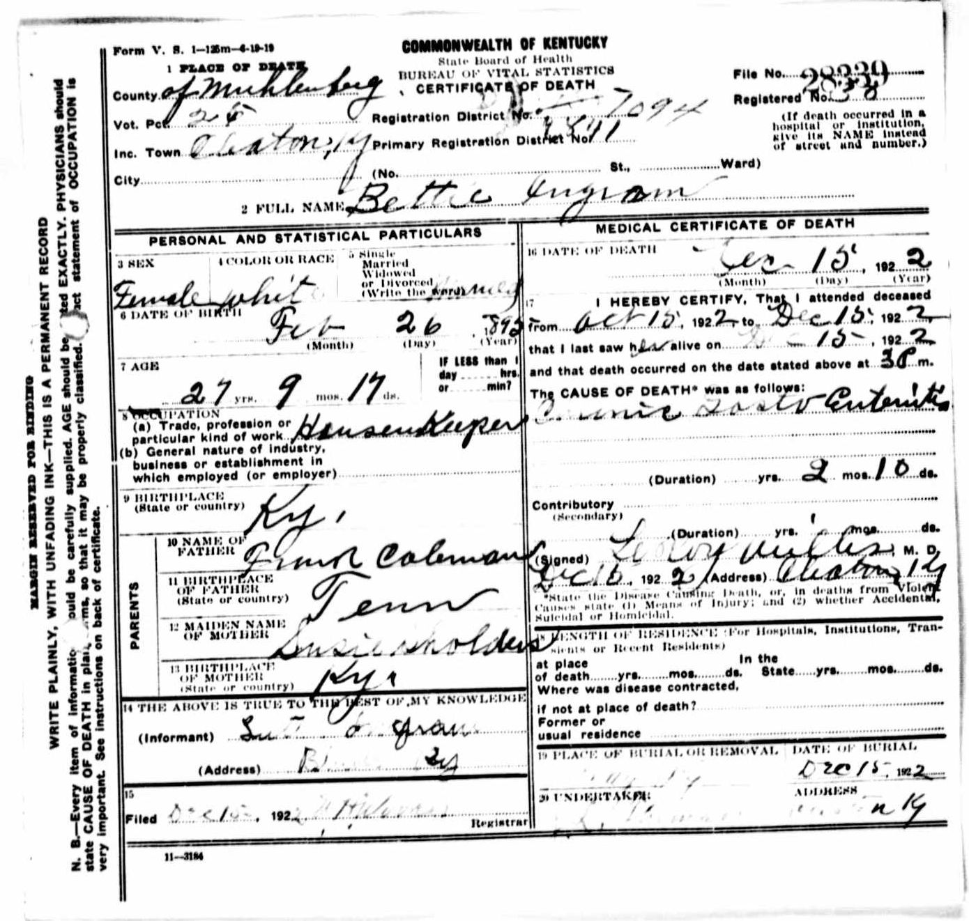 Death certificates i kentucky death certificate 28339 bettie ingram 1895 1922 frank coleman susie shoulders luther ingram cleaton muhlenberg kentucky tennessee 1betcityfo Images