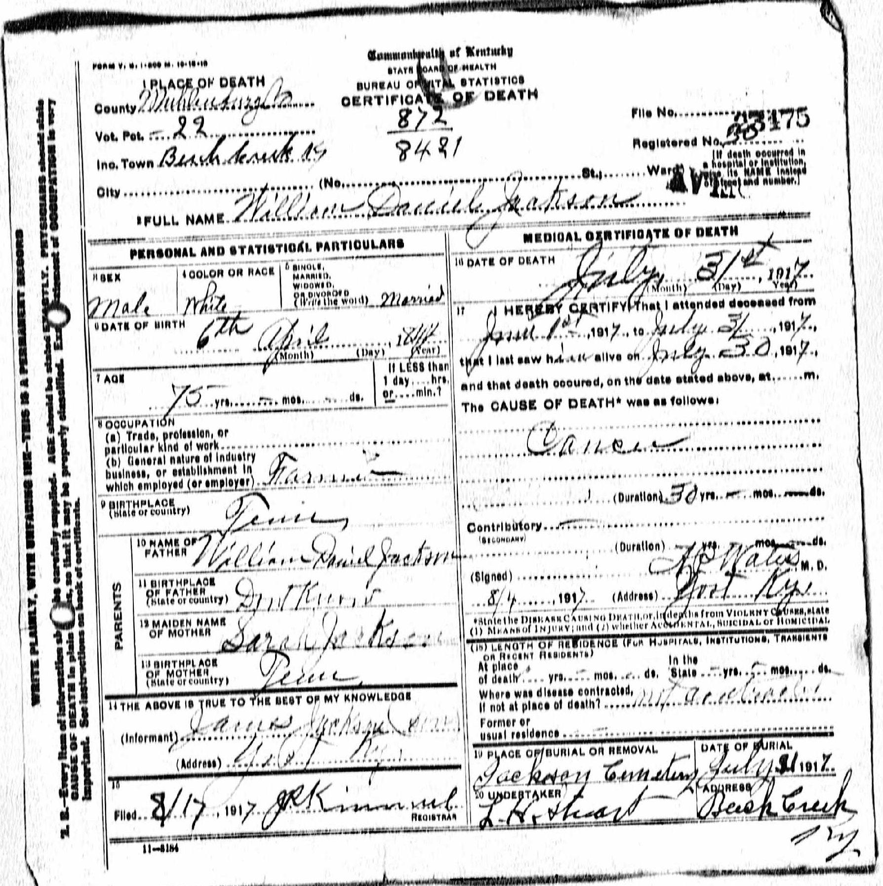 Death certificates j kentucky death certificate 23475 1betcityfo Images