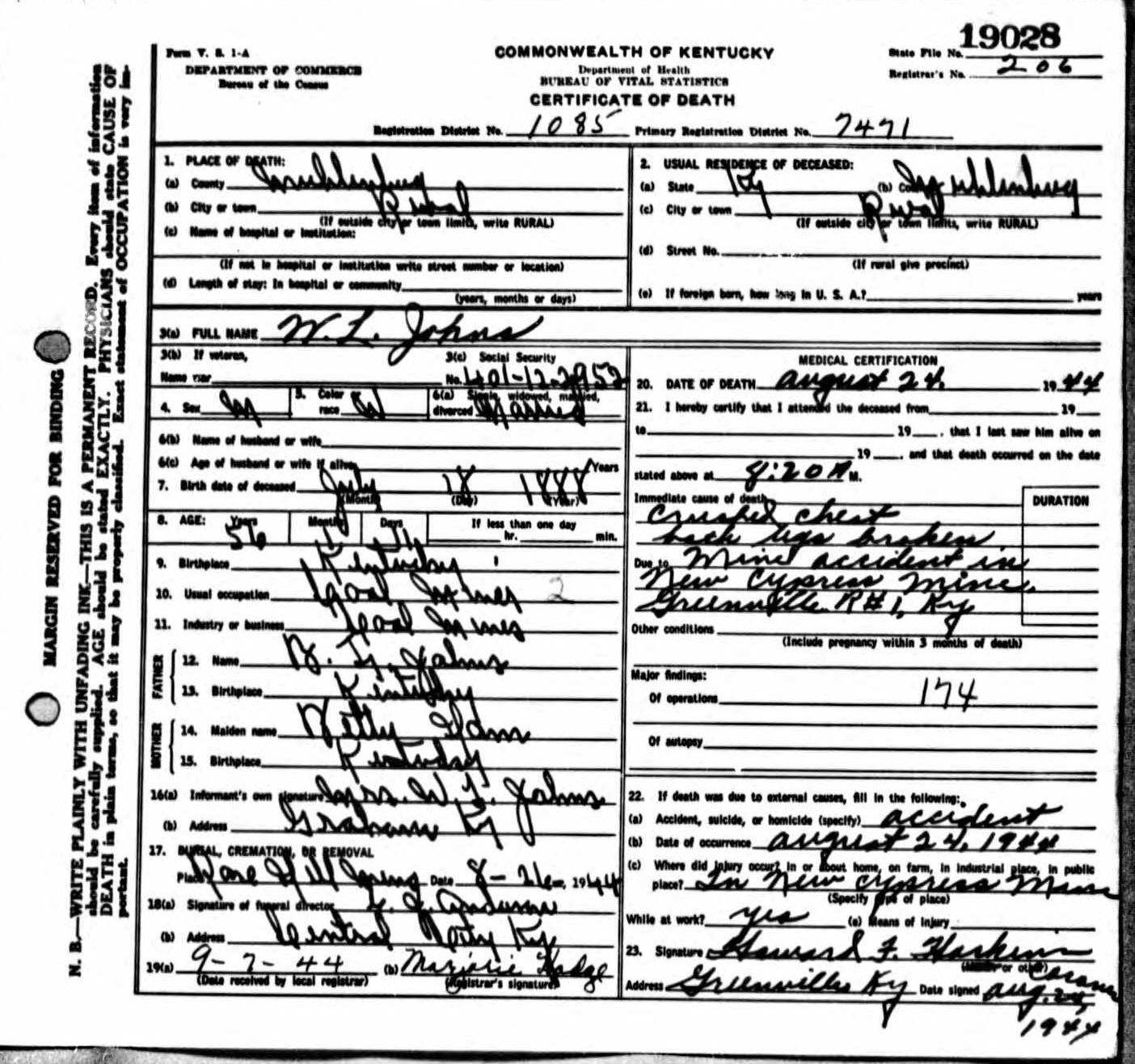 Death Certificates Ji - Jo