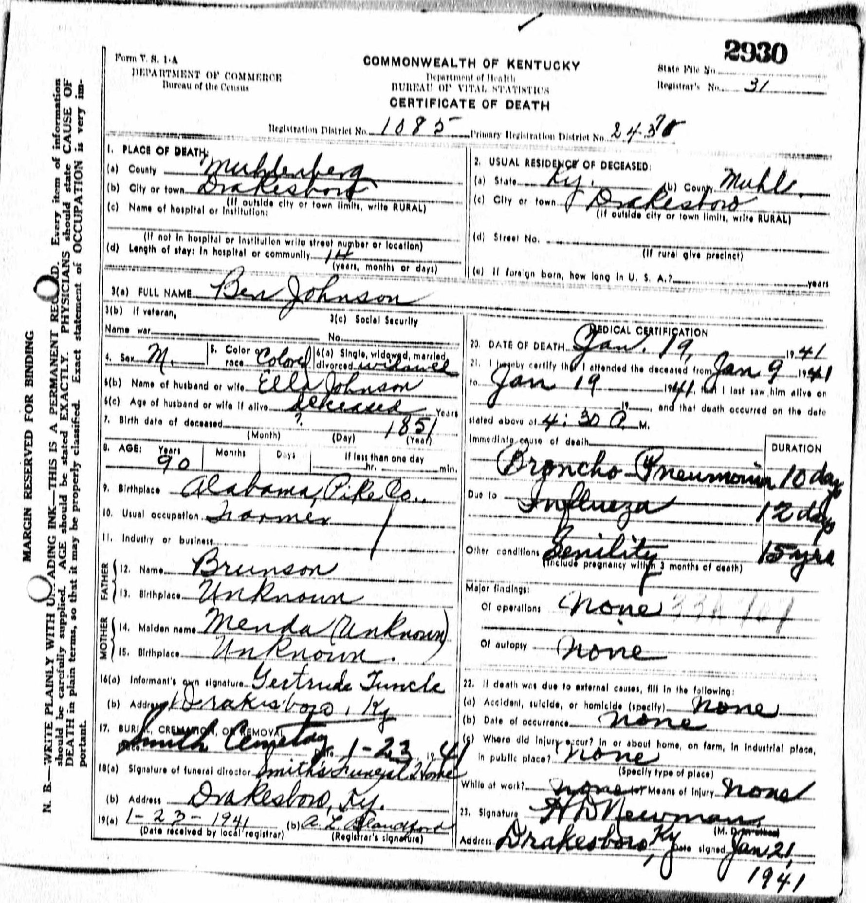 Death certificates j kentucky death certificate 2930 ben johnson 1851 1941 ella johnson brunson menda gertrude tuncle drakesboro muhlenberg pike alabama kentucky xflitez Choice Image