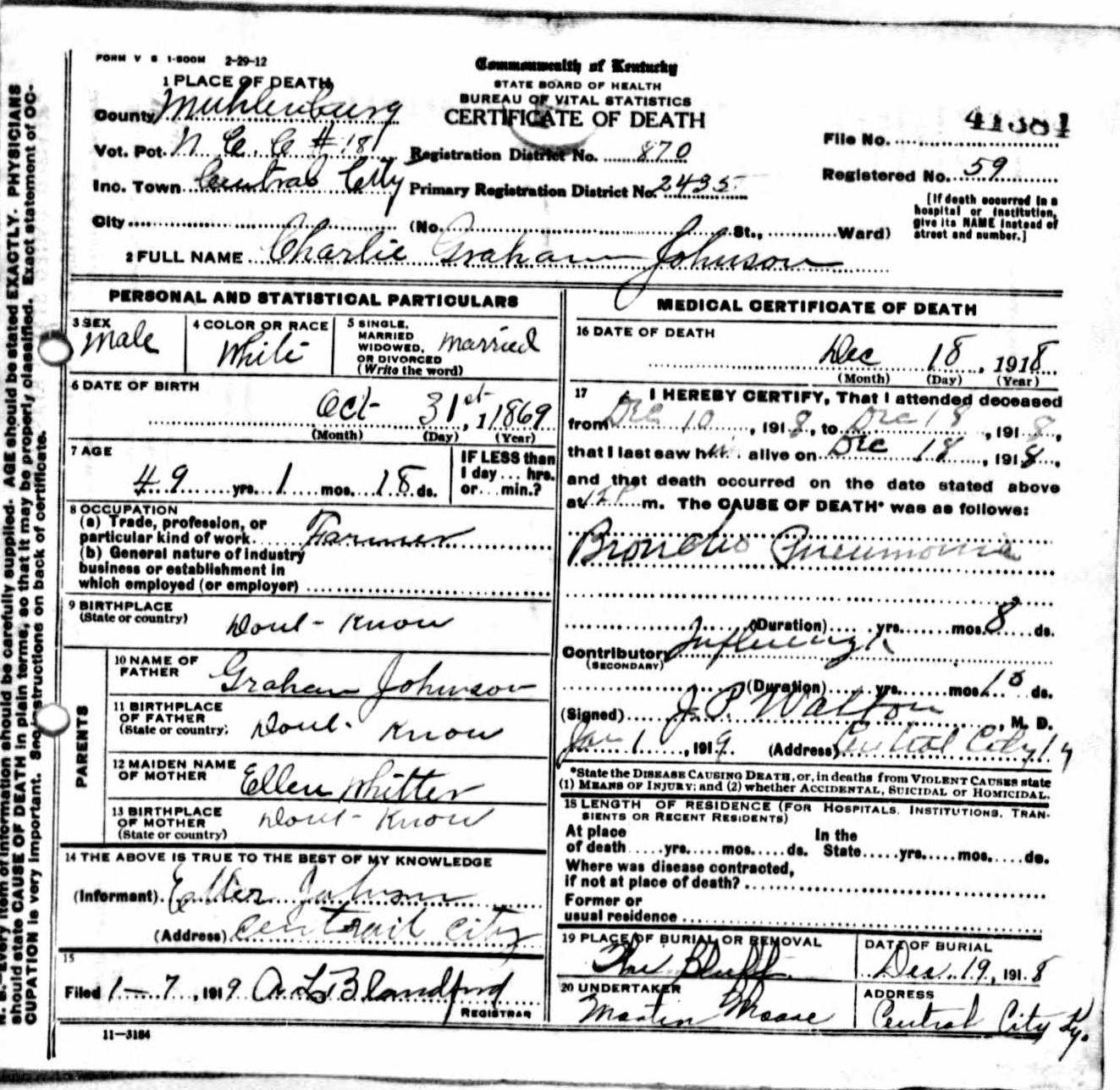 Death Certificates J