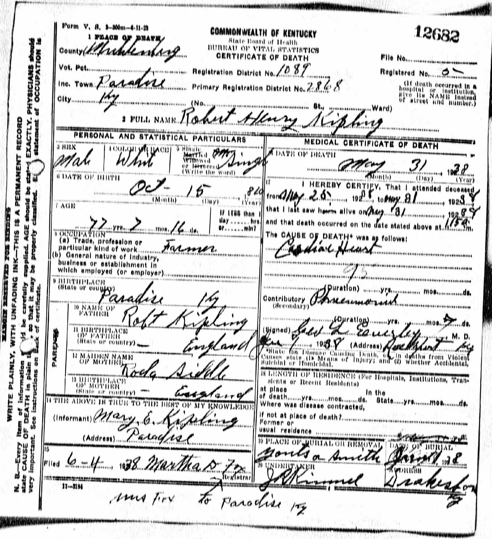 Death certificates k kentucky death certificate 12682 1betcityfo Images