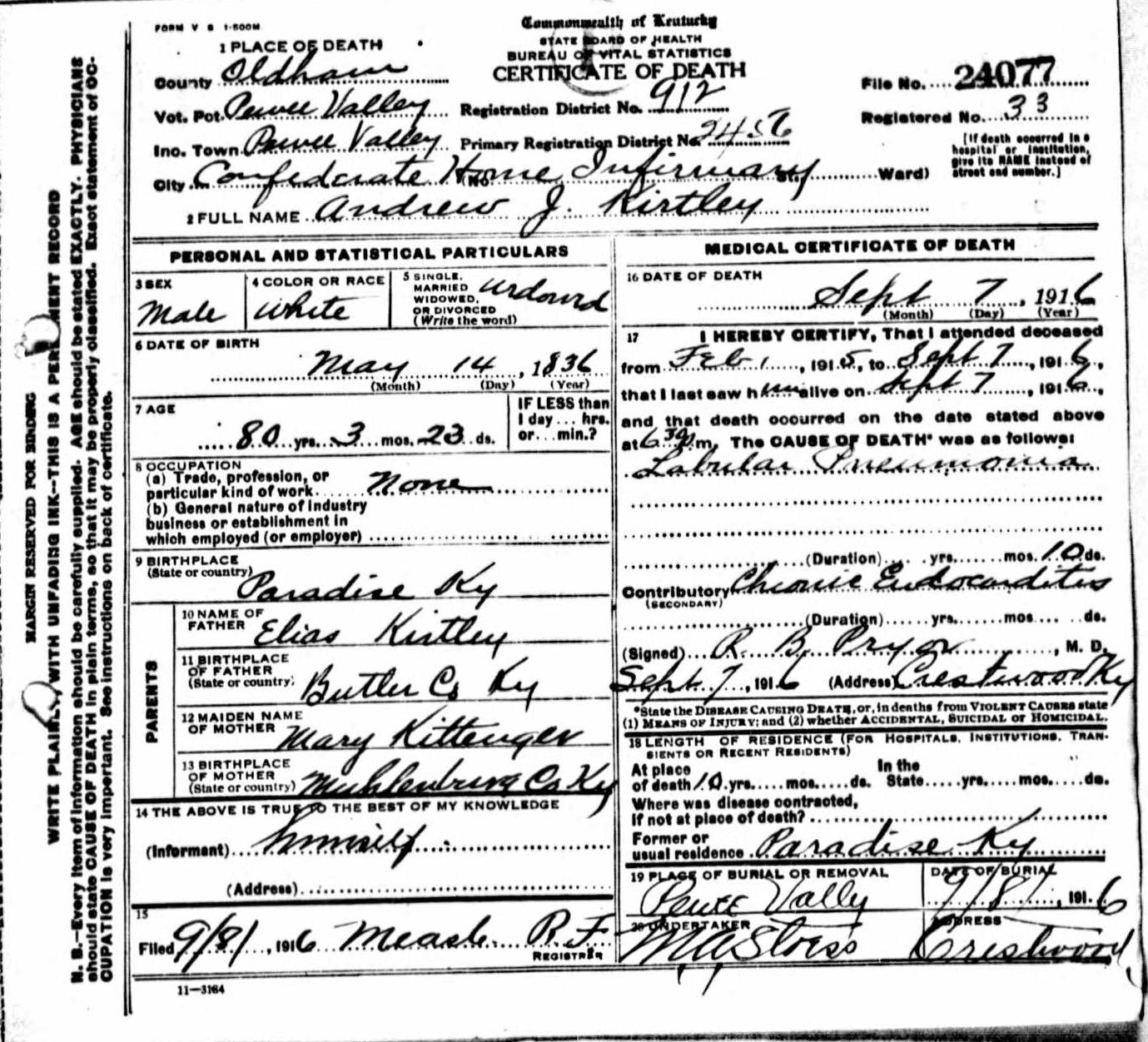 Death certificates k kentucky death certificate 24077 andrew j kirtley 1836 1916 elias kirtley mary kittinger confederate house infirmary paradise butler muhlenberg xflitez Choice Image