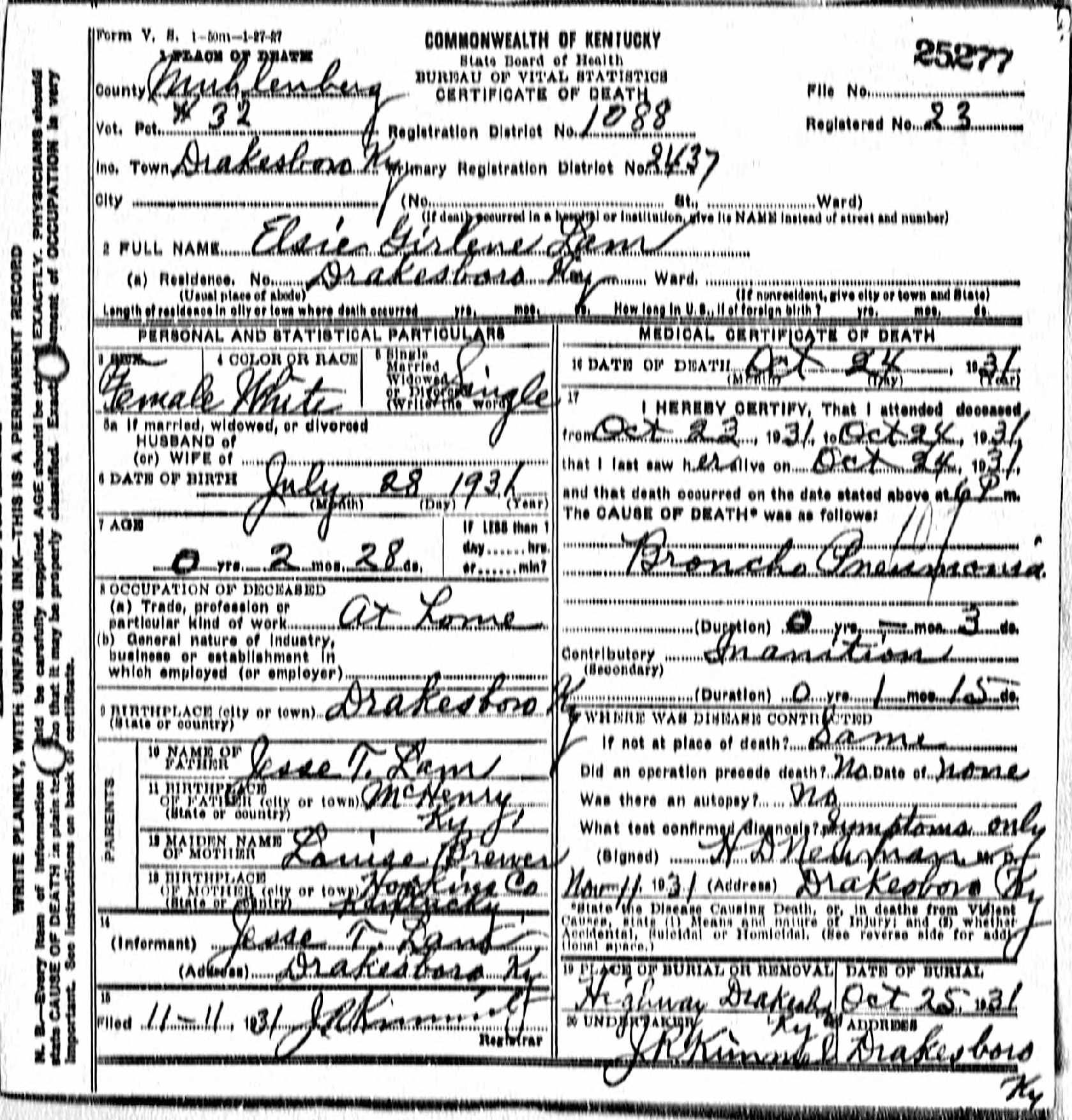 Death certificates l kentucky death certificate 25277 1betcityfo Image collections