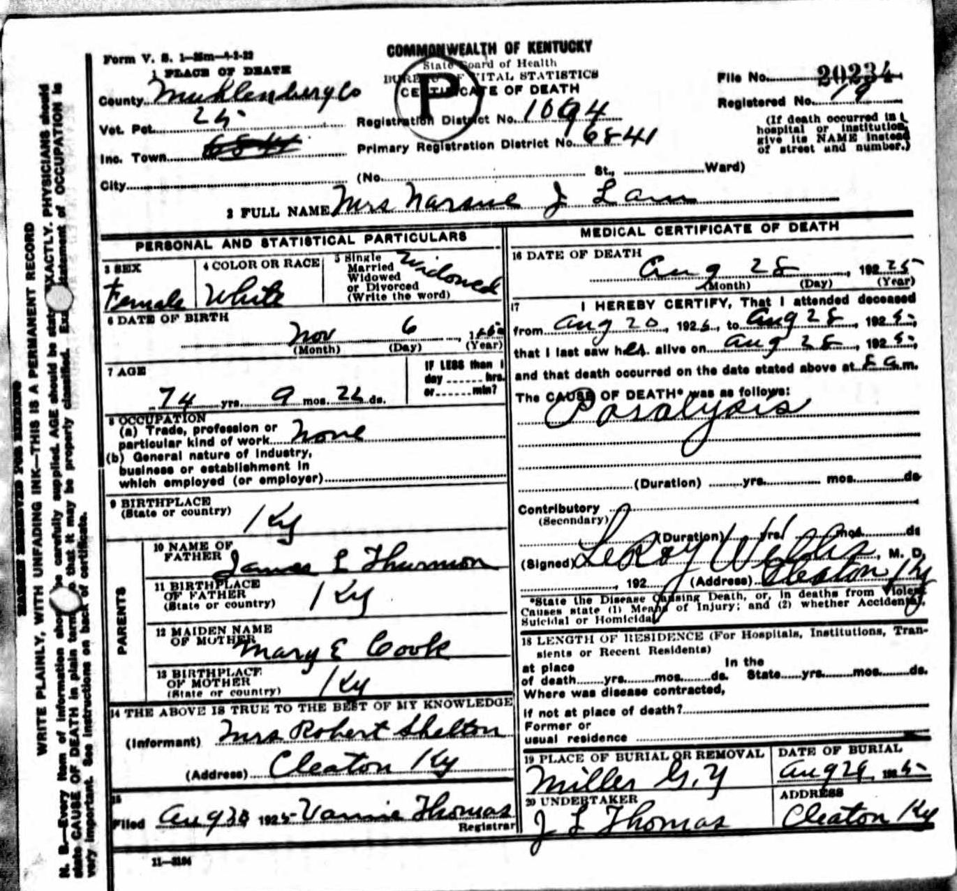 Death certificates l kentucky death certificate 20234 narsue j lam 1852 1925 james l thurman mary e cook mrs robert shelton cleaton muhlenberg kentucky miller 1betcityfo Image collections