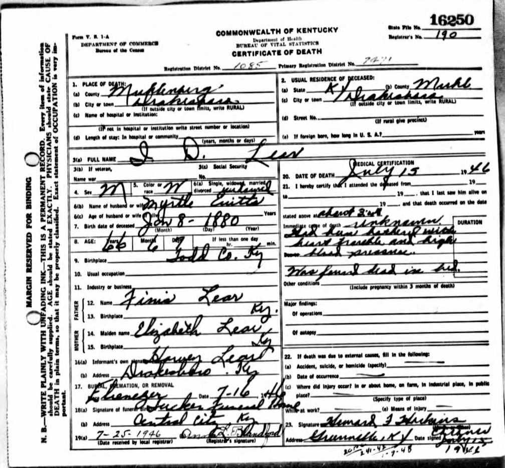 Death Certificates L