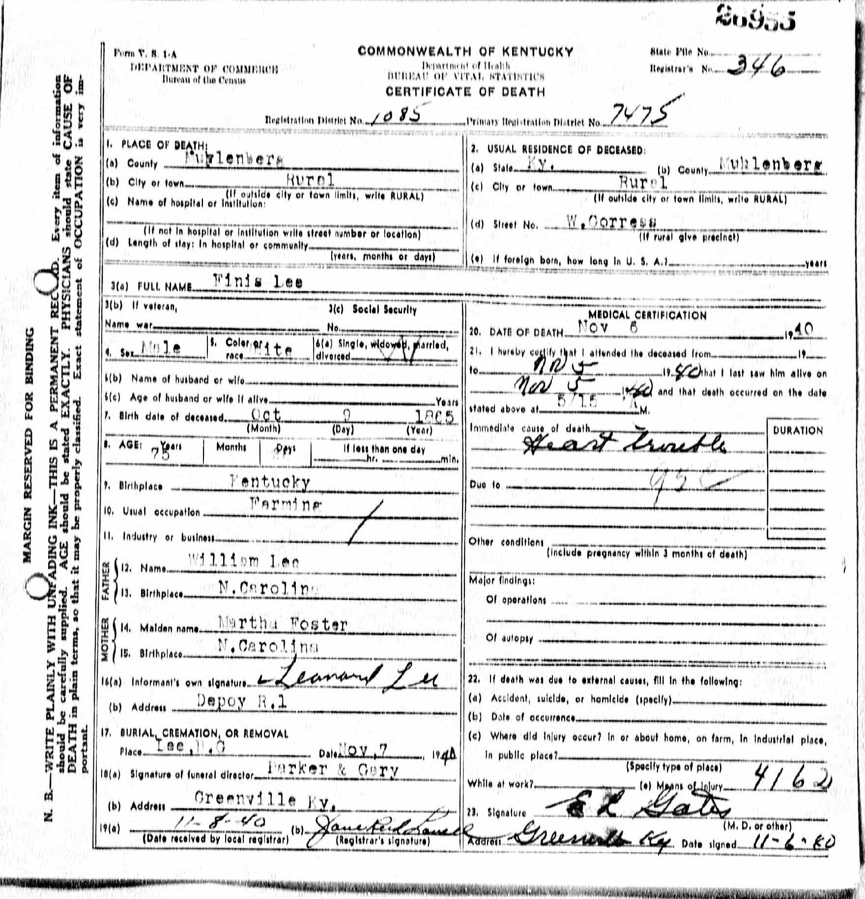 Death certificates l kentucky death certificate 26955 finis lee 1865 1940 william lee martha foster leonard lee boggess depoy muhlenberg kentucky north carolina xflitez Choice Image