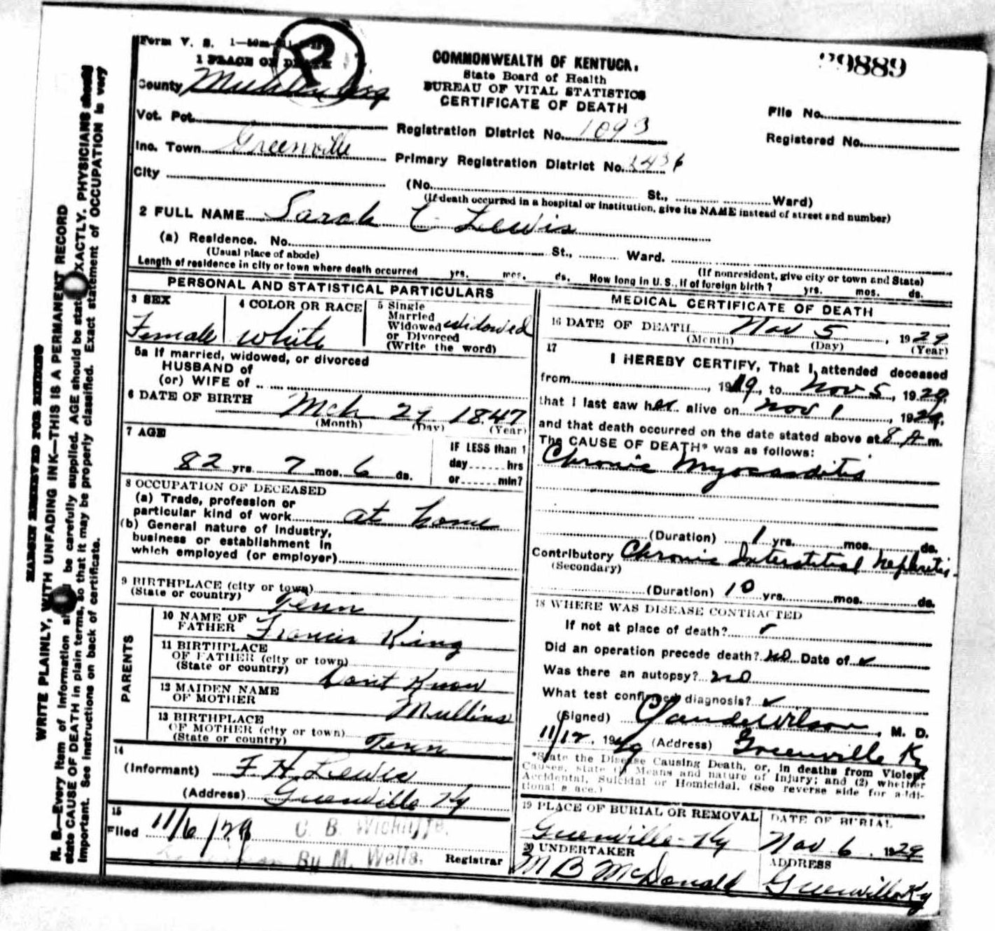 Death certificates l kentucky death certificate 29889 sarah c lewis 1847 1929 francis king mullins fh lewis greenville muhlenberg kentucky tennessee greenville 1betcityfo Images