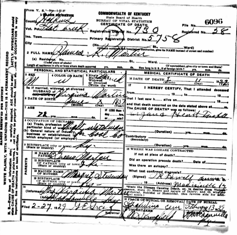 Death certificates m kentucky death certificate 6096 aiddatafo Images