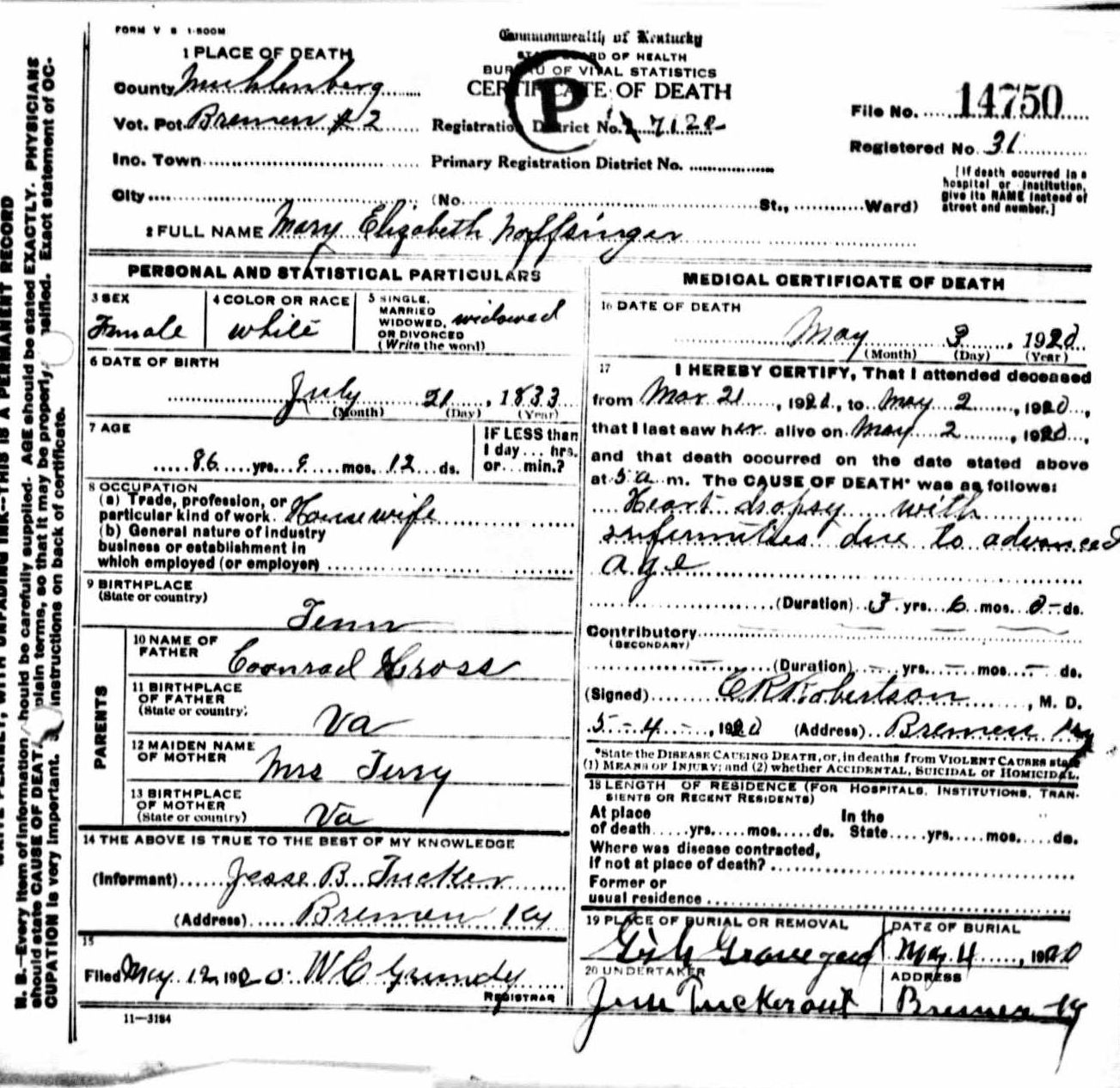 death certificates n mary elizabeth noffsinger 1833 1920 conrad gross mrs terry jesse b tucker bremen muhlenberg kentucky tennessee virginia gish