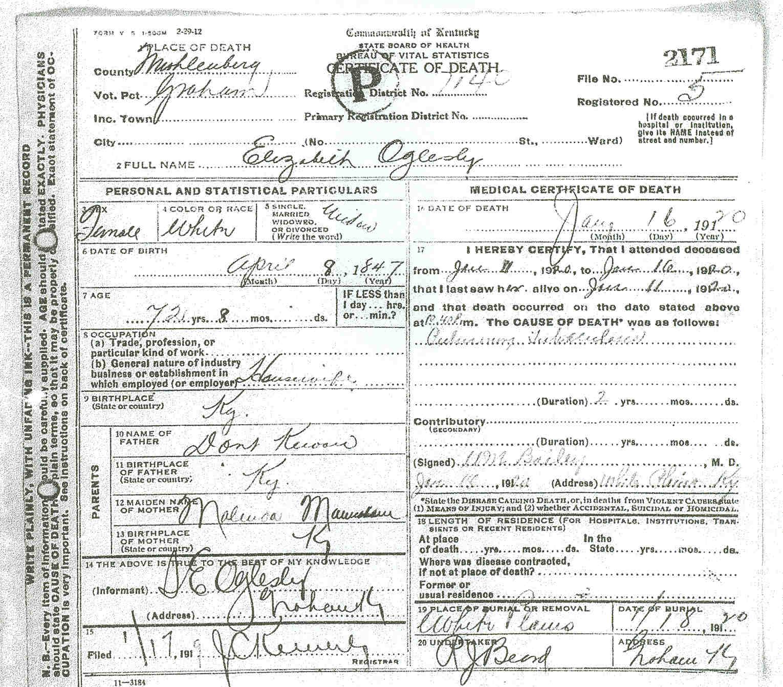 Death Certificates O