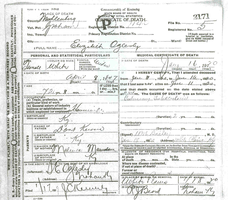 Death certificates o kentucky death certificate 2171 aiddatafo Images