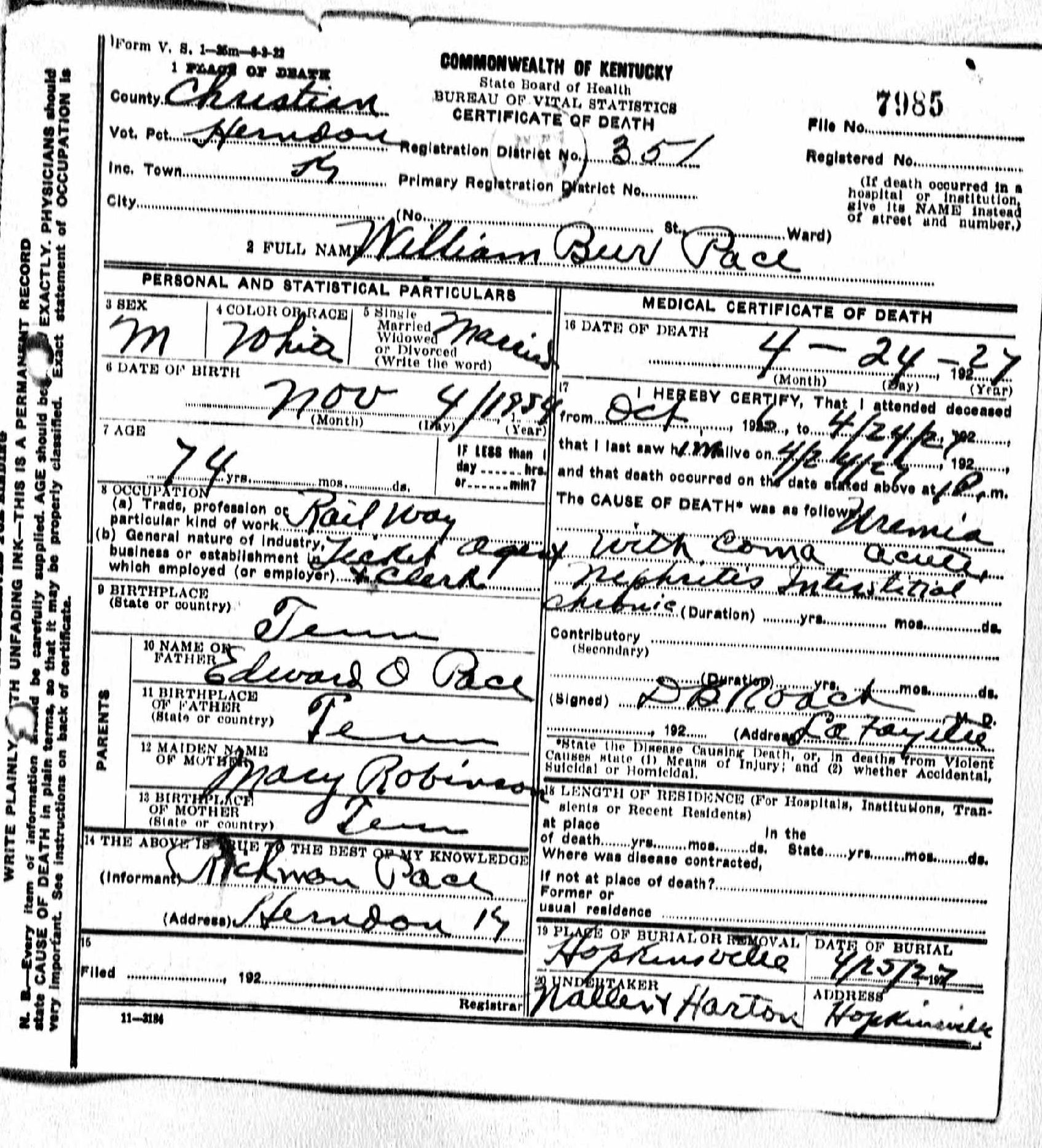 Death certificates p kentucky death certificate 7985 1betcityfo Images