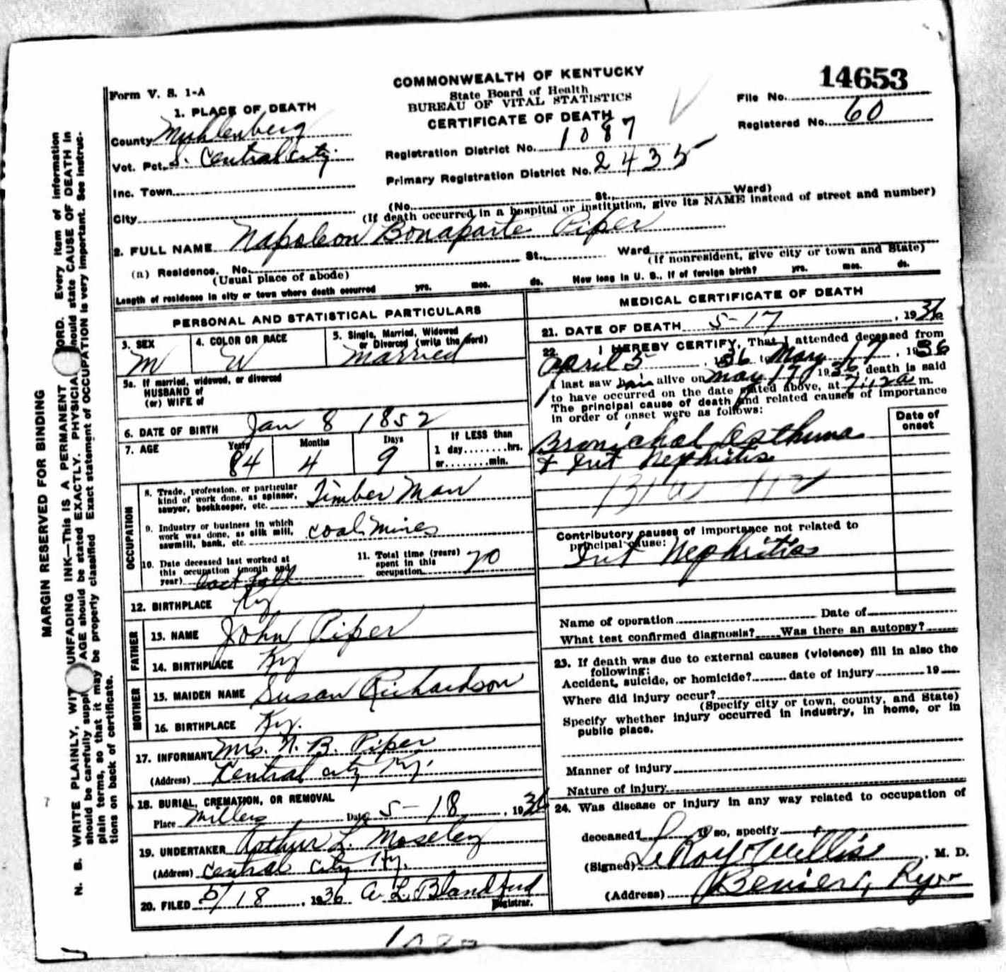 Death certificates p kentucky death certificate 14653 1betcityfo Choice Image