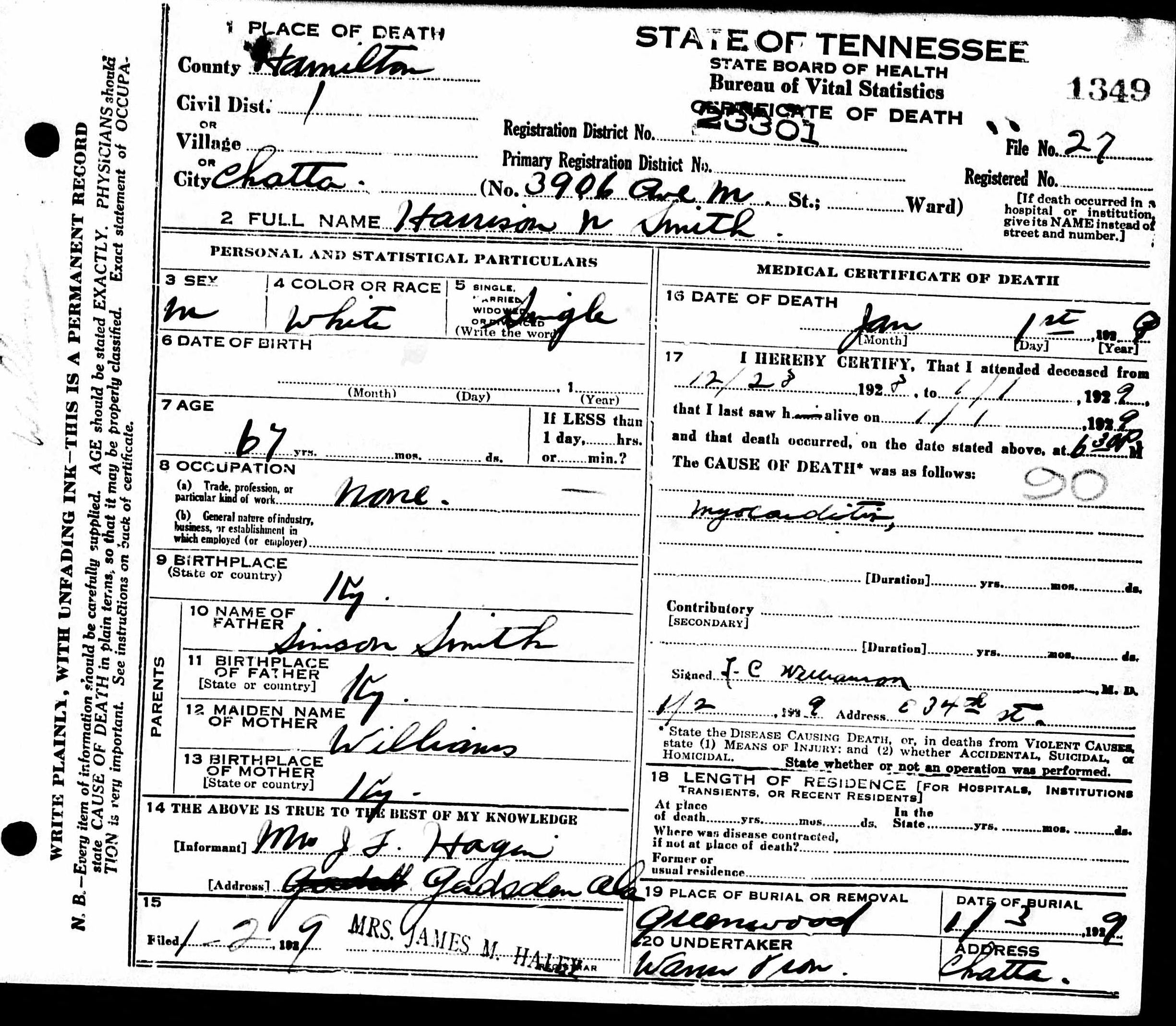 Death certificates sm tennessee death certificate 1349 harrison n smith 1861 1929 simson smith williams jf hagen chattanooga gadsden hamilton alabama kentucky xflitez Gallery