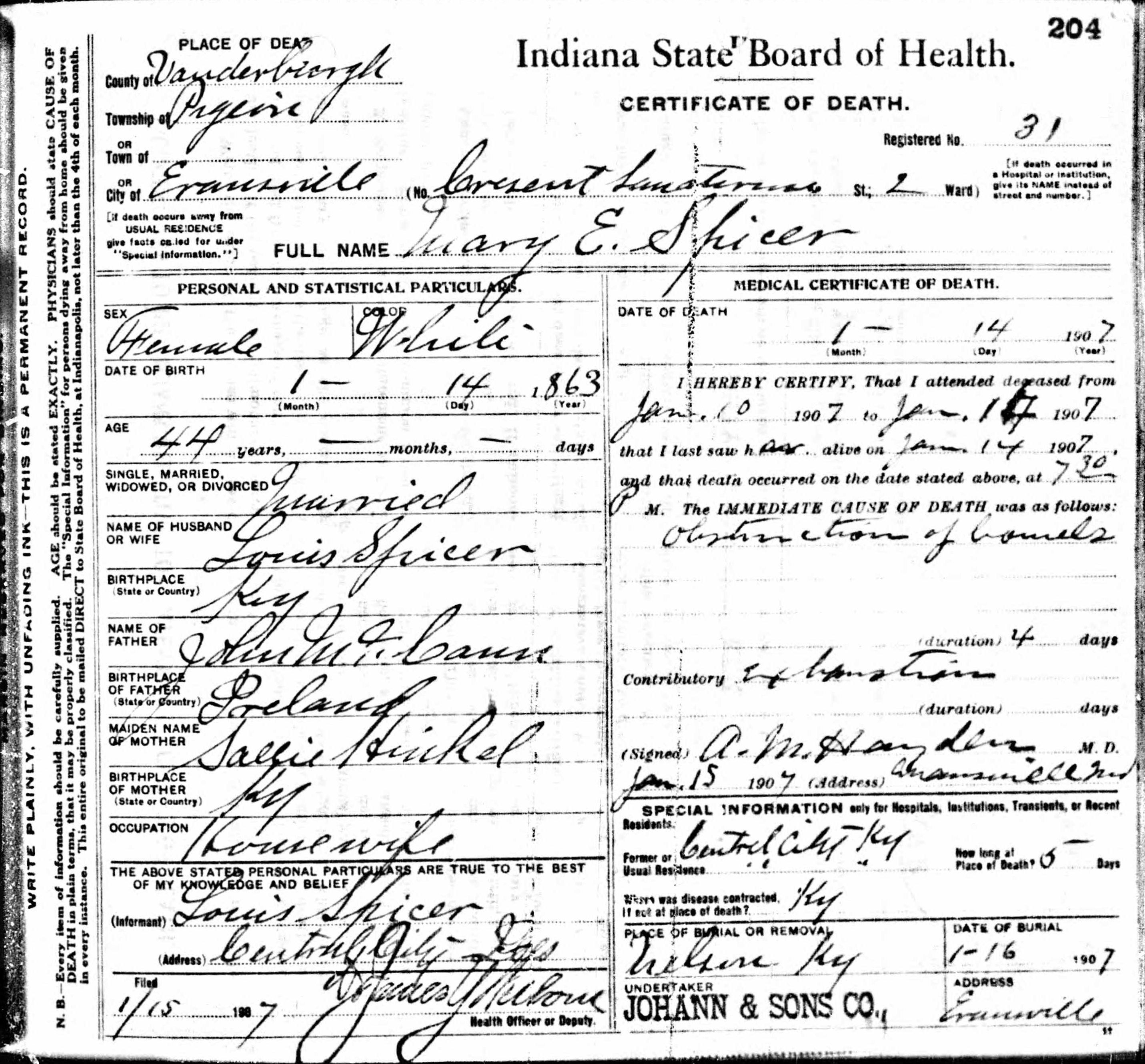 Death Certificates Sn Sp